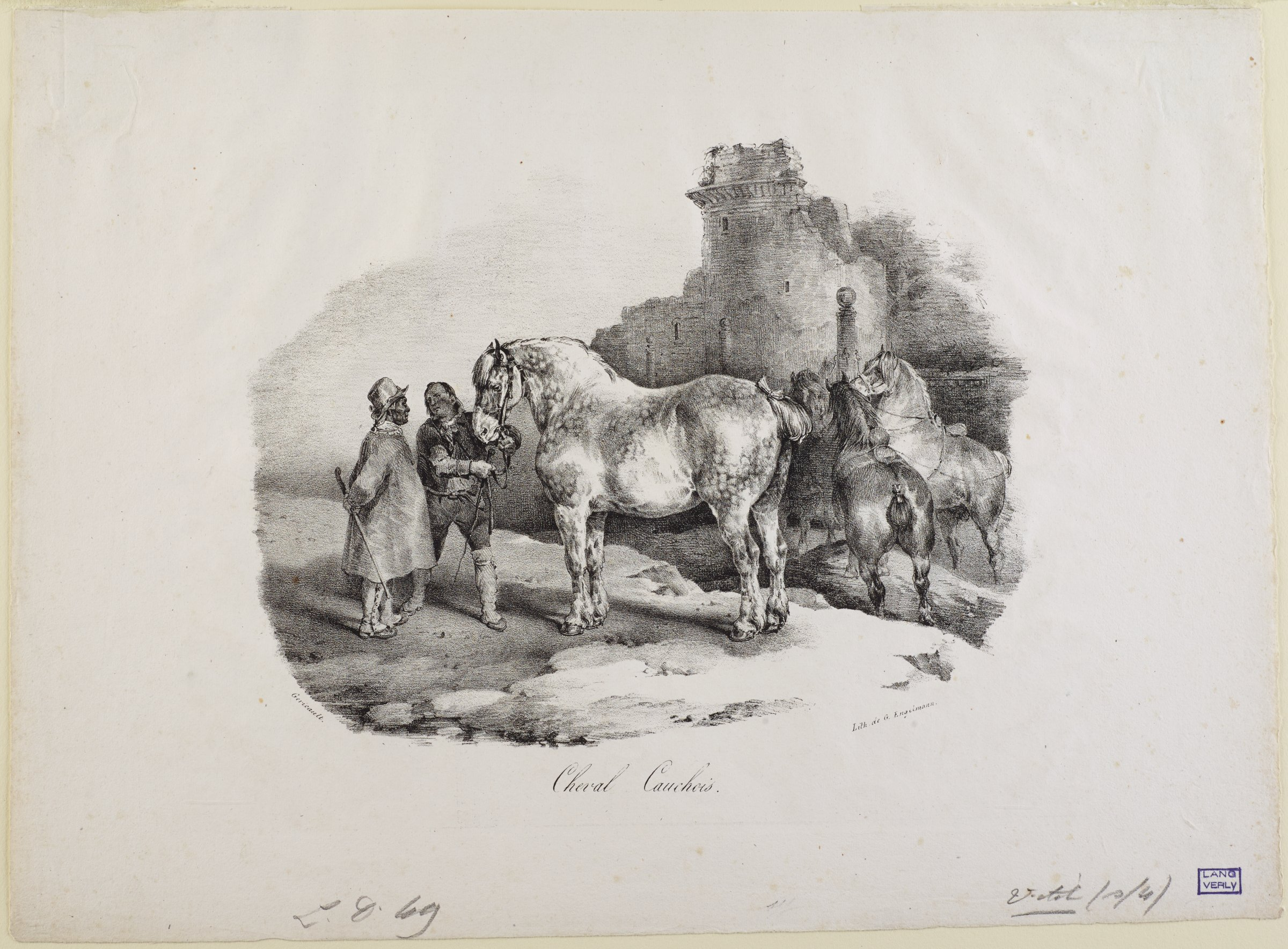 Two men stand conversing on the left. One man holds the reigns of a large horse in the center. On the right, three horses are gathered in the middleground. Ruins of building stand in the background.