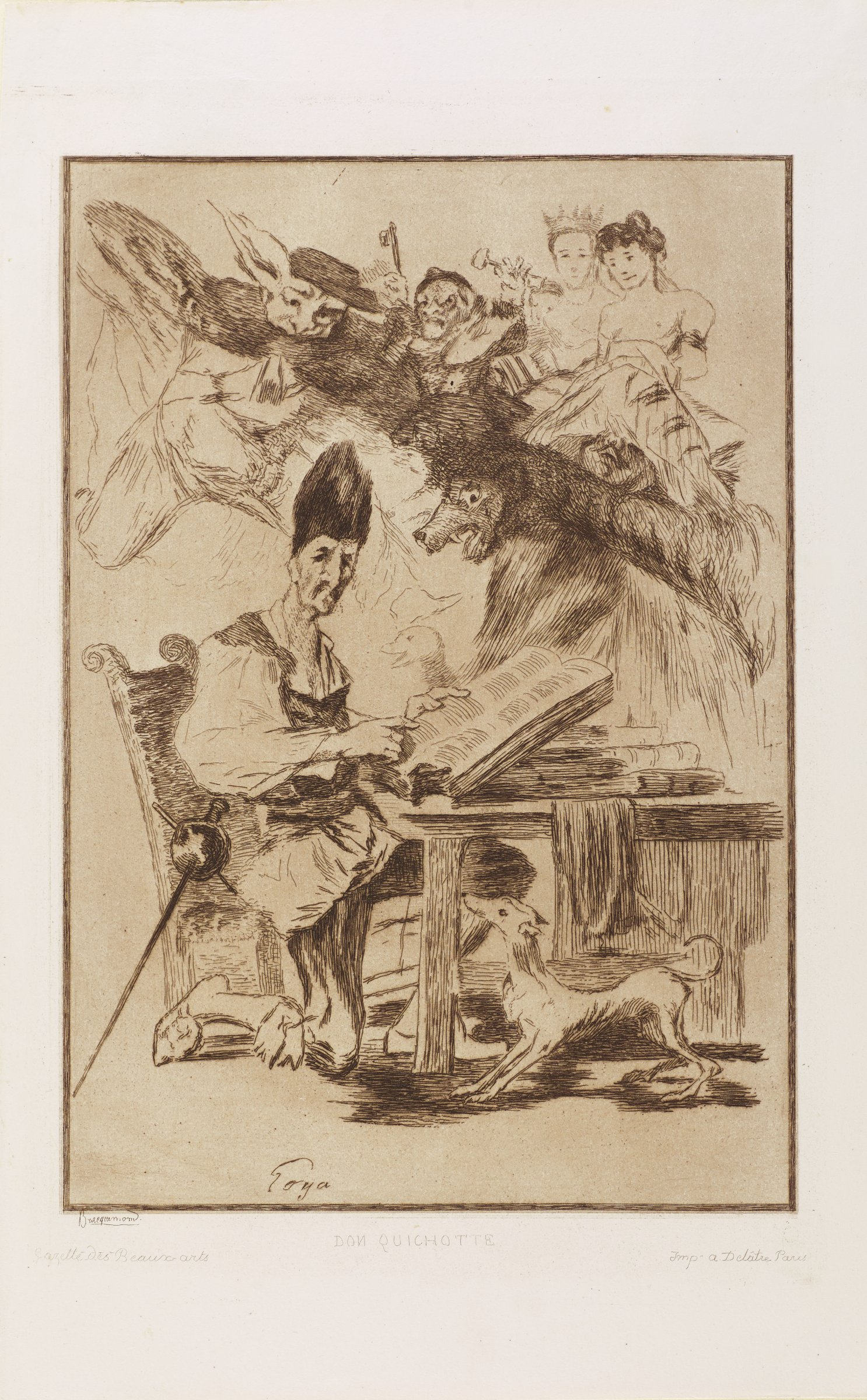 A man sits at a desk with an open book. He looks out at the viewer and points to a passage in the book. A small dog stands alert at his feet. Above him in the background, a swirl of figures resides including grotesque figures, animals, and humans.