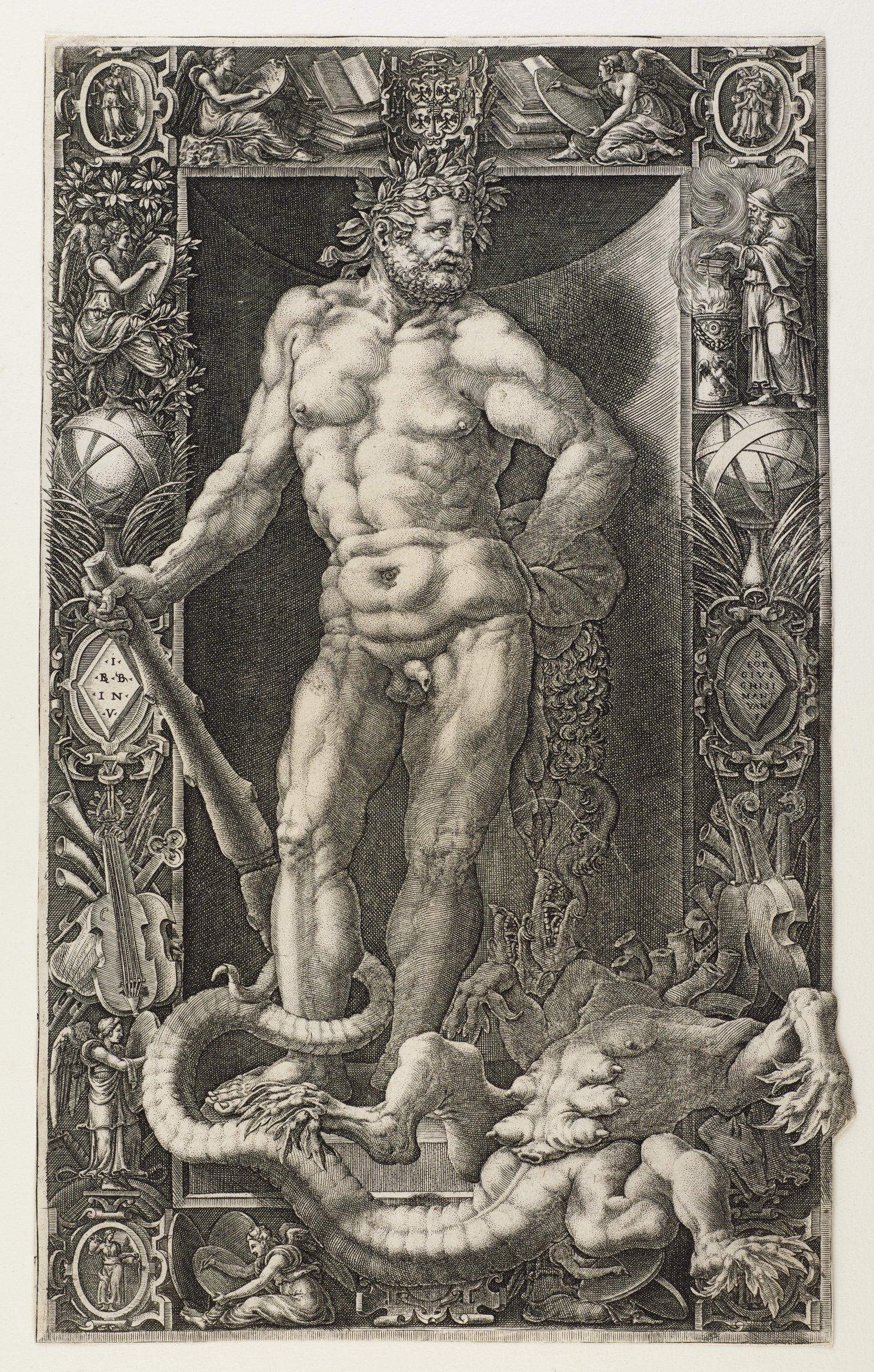 The main figure, Hercules, is seen here as a muscular nude man, standing in a contrapposto stance. In his right hand he holds a club, and his left arm rests on his hip. The defeated hydra is lying in the right corner with its tail loosely wrapped around Hercules' right ankle. A thick border around the perimeter contains varying imagery of figures, musical instruments, books, and plant life.
