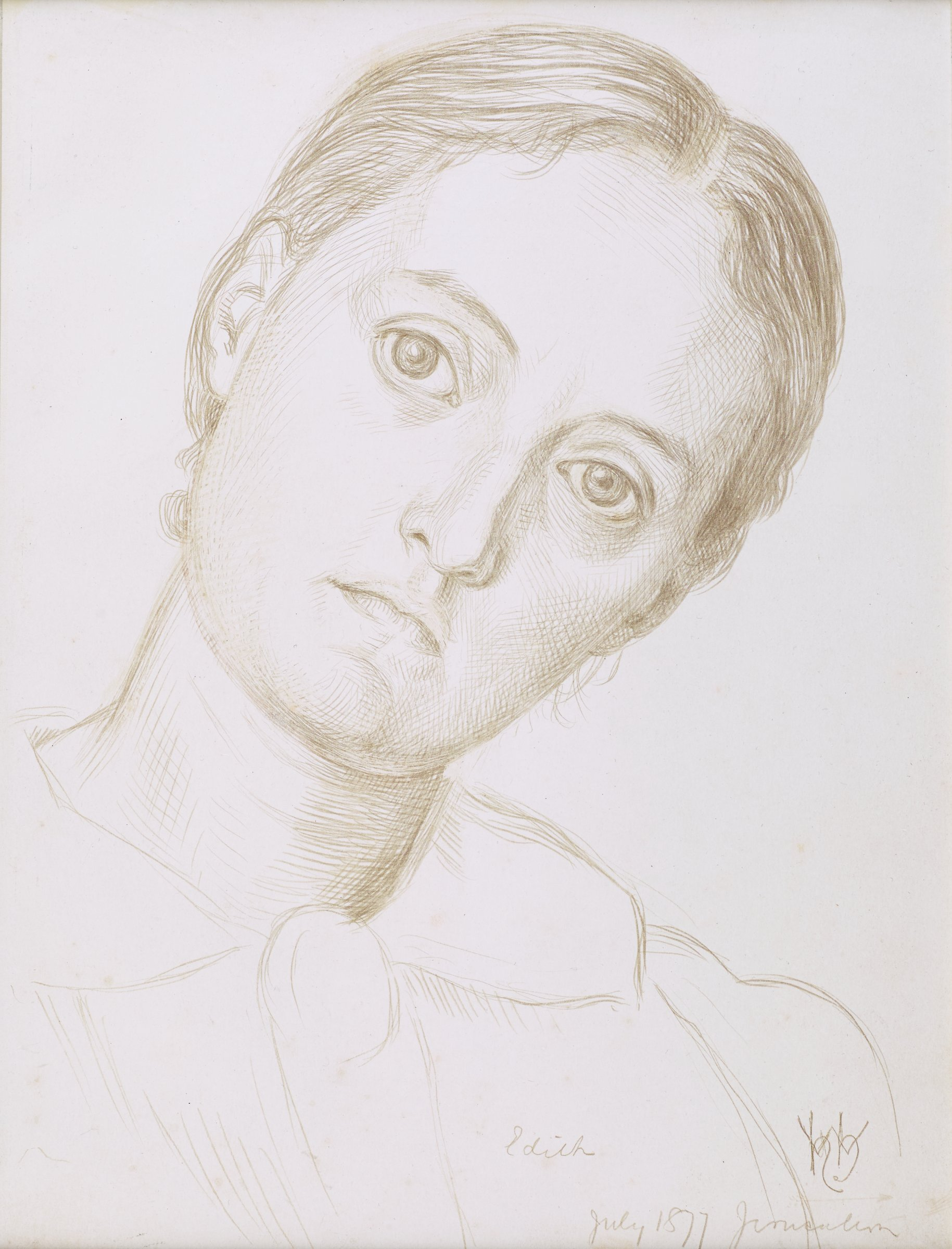 Bust-length view of sitter, at a slight angle to picture plane (left proper shoulder receding slightly). Head is tilted to proper left. Hair and features indicated in detail, while body remains summarily treated; brooch(?) at neckline.