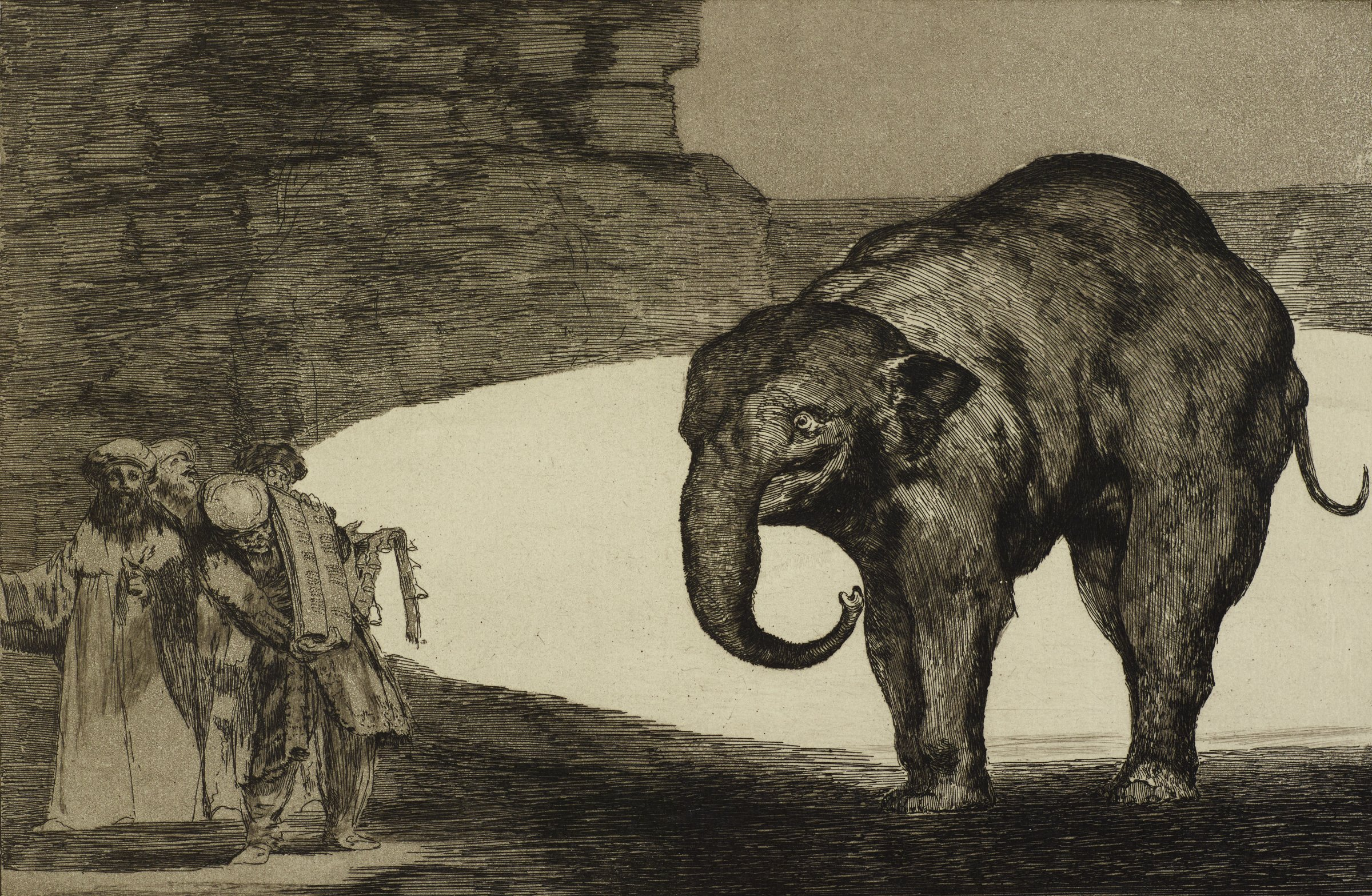 An elephant stands on the right looks at a crowd of four figures. In the background behind the crowd is an outline of a second elephant.
