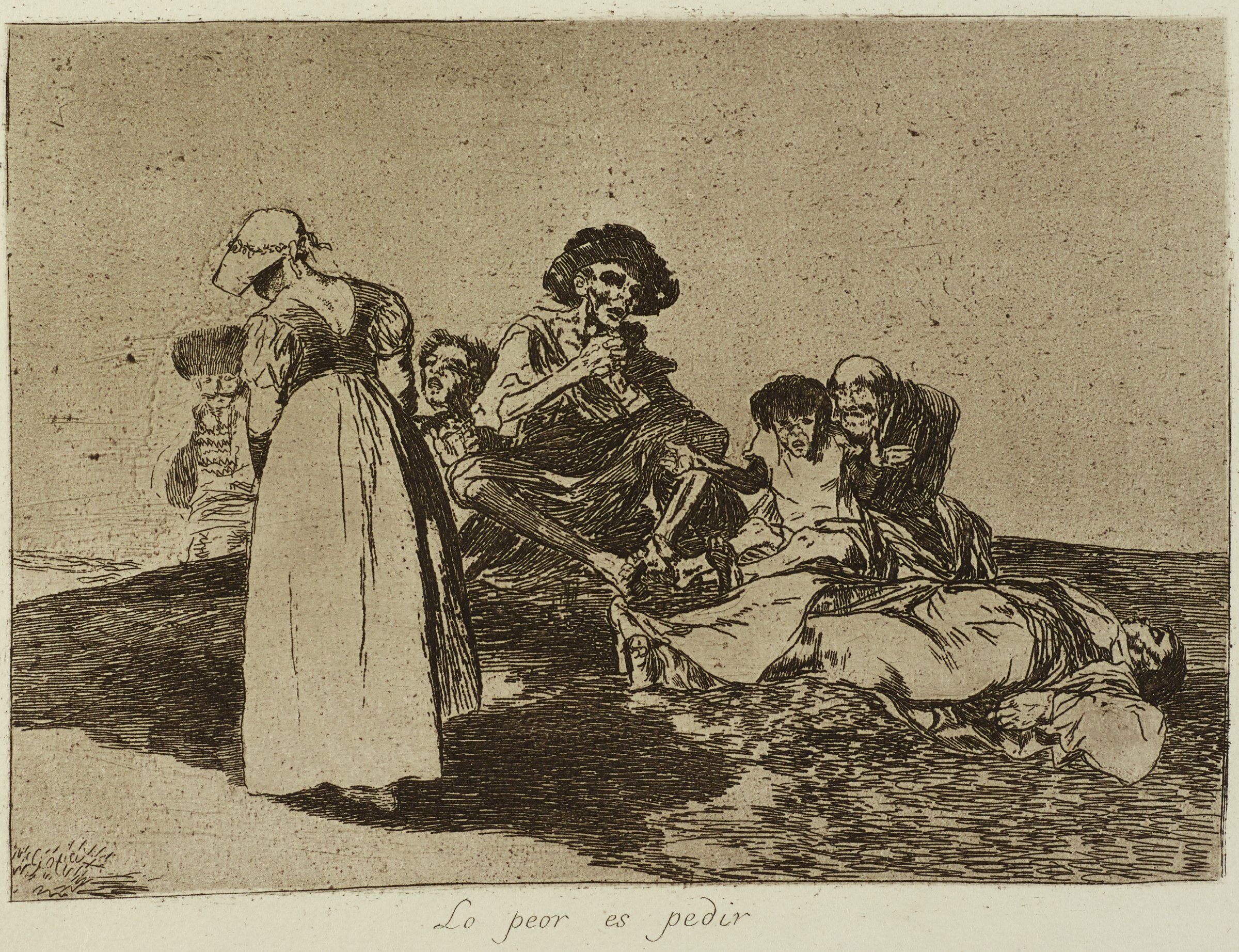 Four figures that appear to be starving are sitting on a small mound, pleading with those that are passing by. One figure lays flat on the right. A woman dressed nicely walks by with her head down. A nicely dressed man is partially seen on the left.