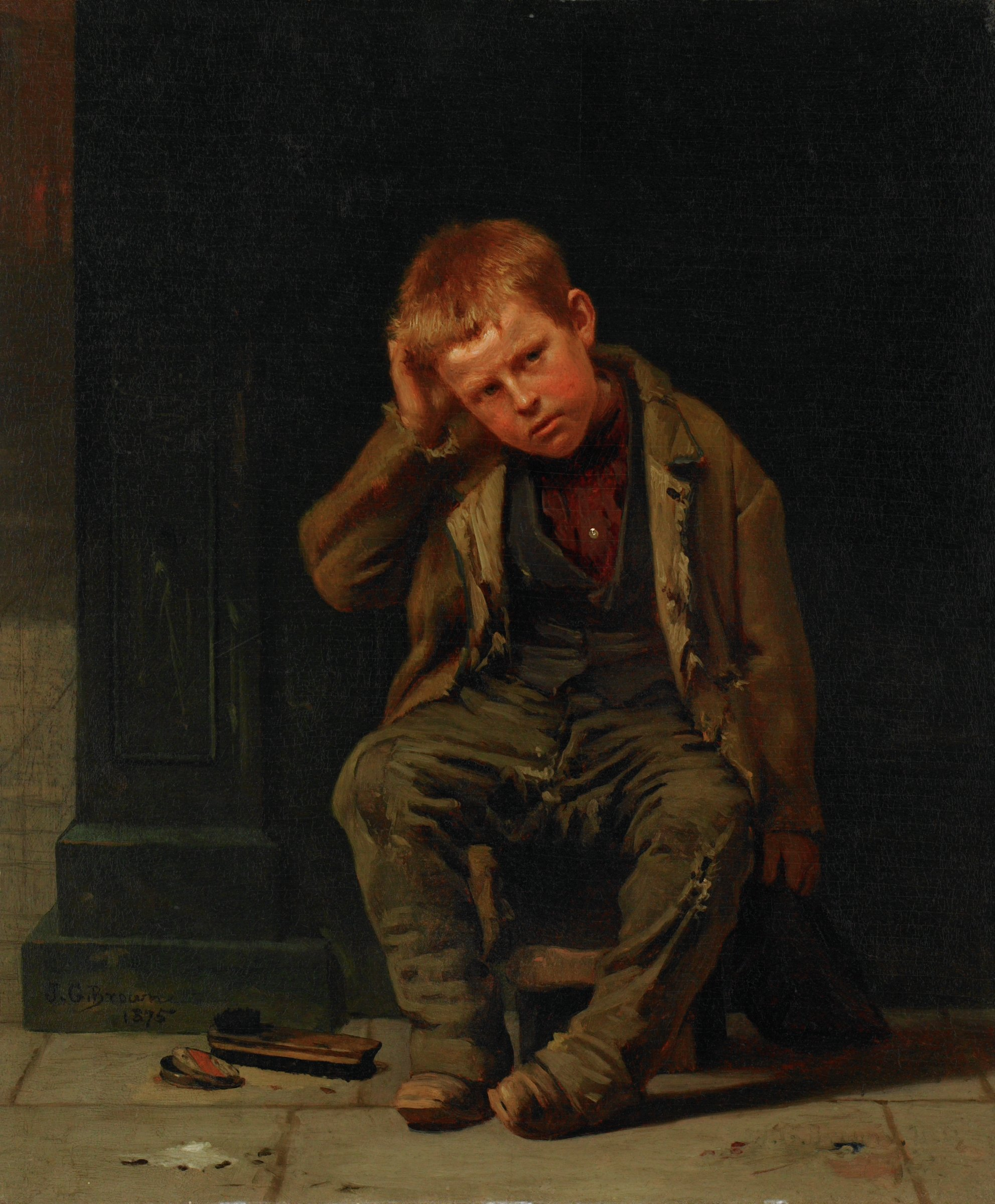This Corner Don't Pay, John George Brown, oil on panel
