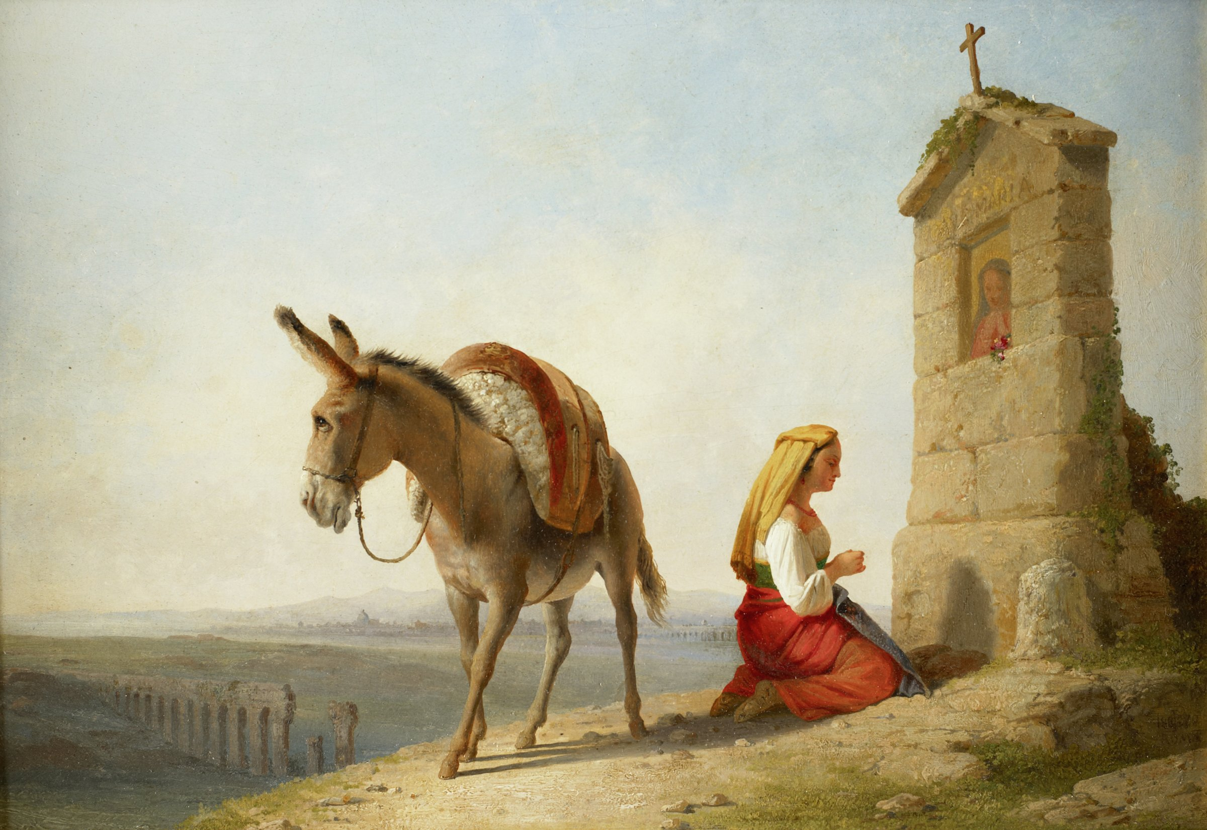 Woman in traditional Italian peasant costume kneeling before a wayside shrine to the Virgin Mary in the Campagna outside Rome. Ruins of the Claudian Aqueduct visible in the lower left corner of the composition. The dome of St. Peter's Basilica can be seen in the distant skyline.