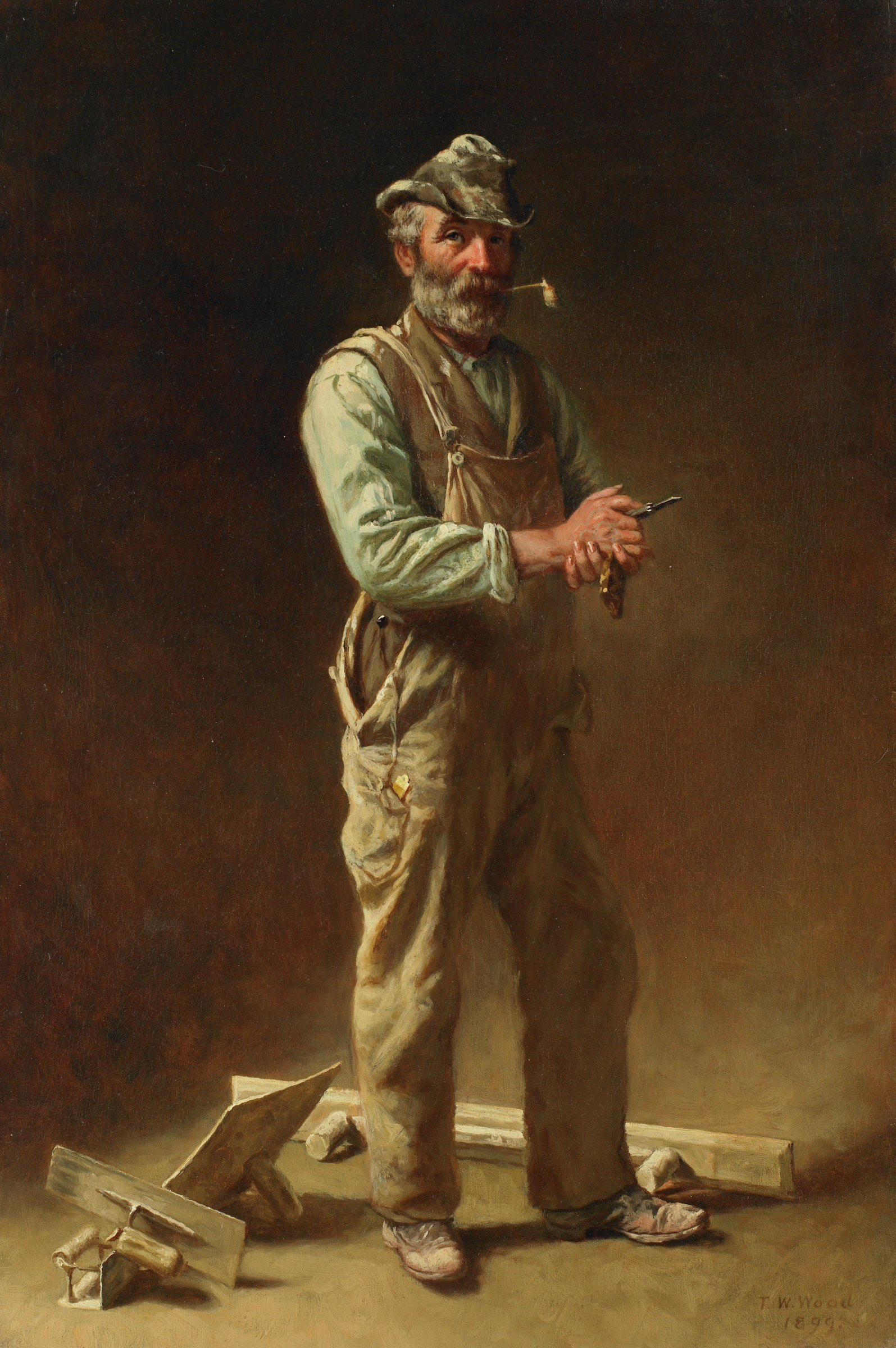 Now for a Good Smoke, Thomas Waterman Wood, oil on canvas