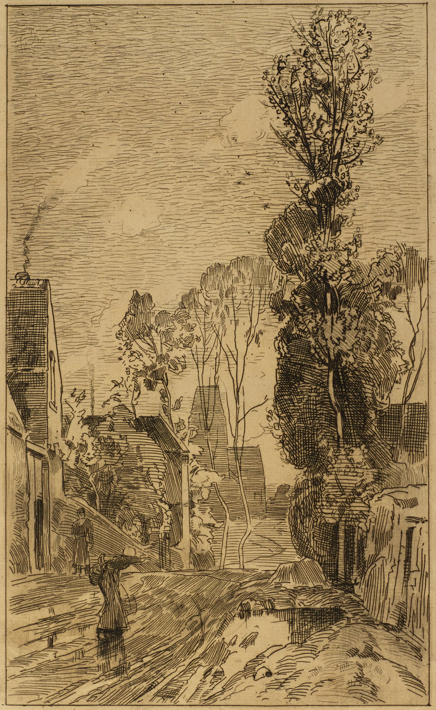 Scene of a quiet city street is shown. A woman walks away from the viewer as she carries a heavy load on her back. A man stands at a nearby doorway looking out onto the street. A tall tree stands on the right side of the street.