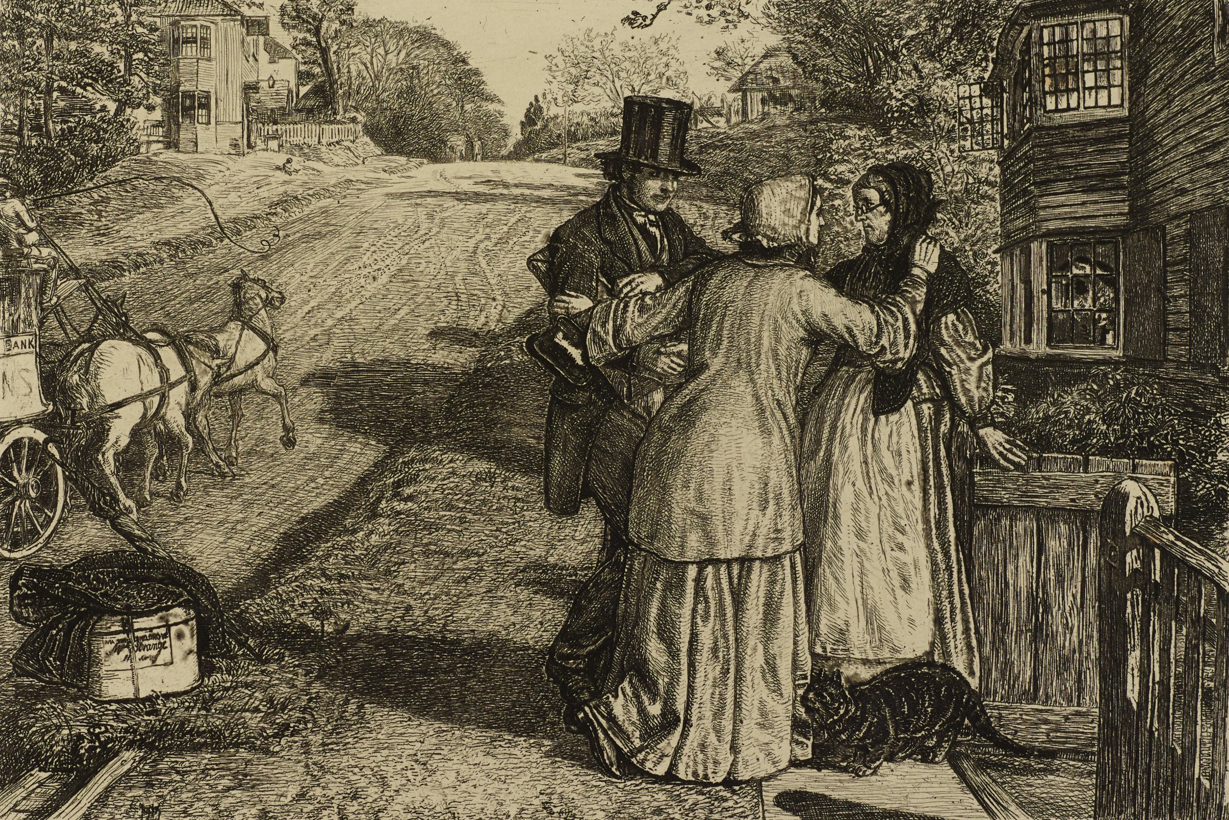 Two women and one man gather together in conversation. They stand on a sidewalk outside the gate of a house. A cat walks beside them. On the street, a horse and carriage pass by.