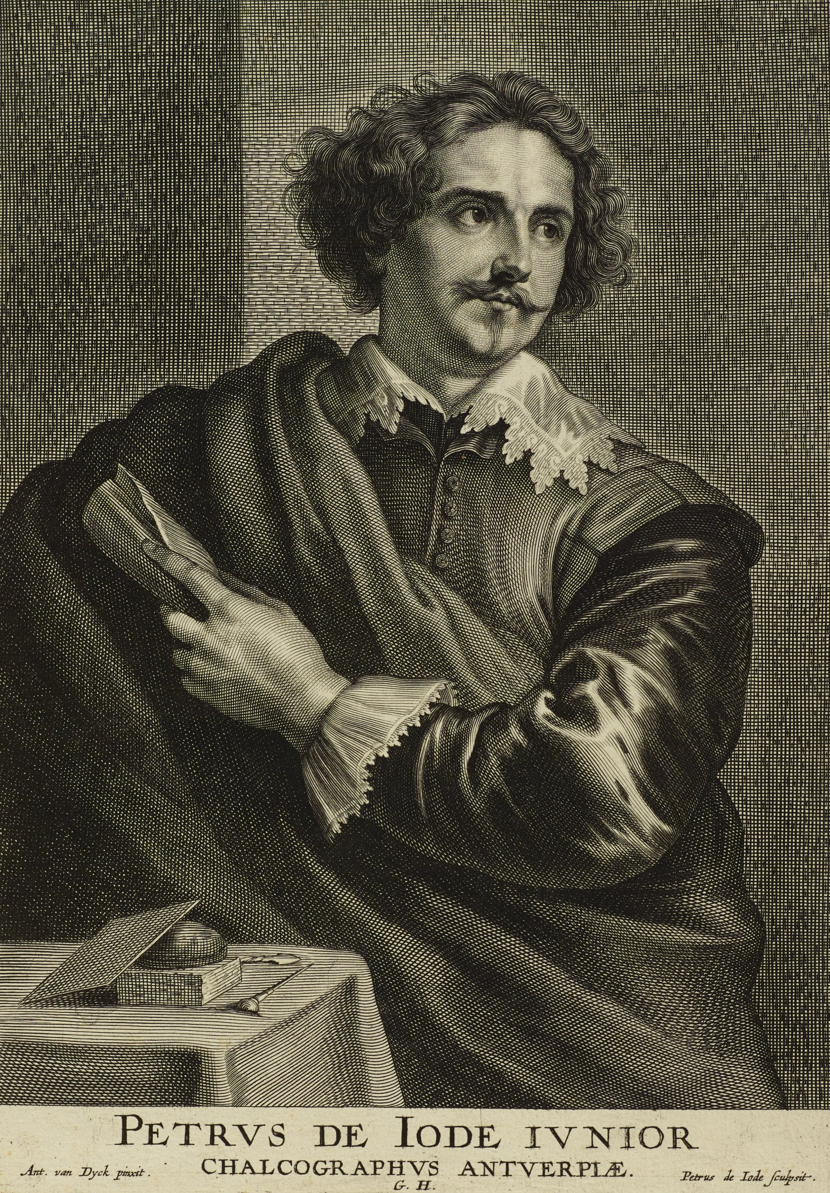 Pieter de Jode, an engraver, stands in front of a table with engraving tools sitting upon it. He holds his left arm across his body. In his left hand is a rolled piece of cloth or paper. He looks slightly to the proper left. This image is from the Gillis Hendricx edition of the Iconography (Icones Principum Virorum Doctorum, Pictorum Chalcographorum Statuorum nec non Amatorum Pictoriae Artis Numero Centum), 1632-44.