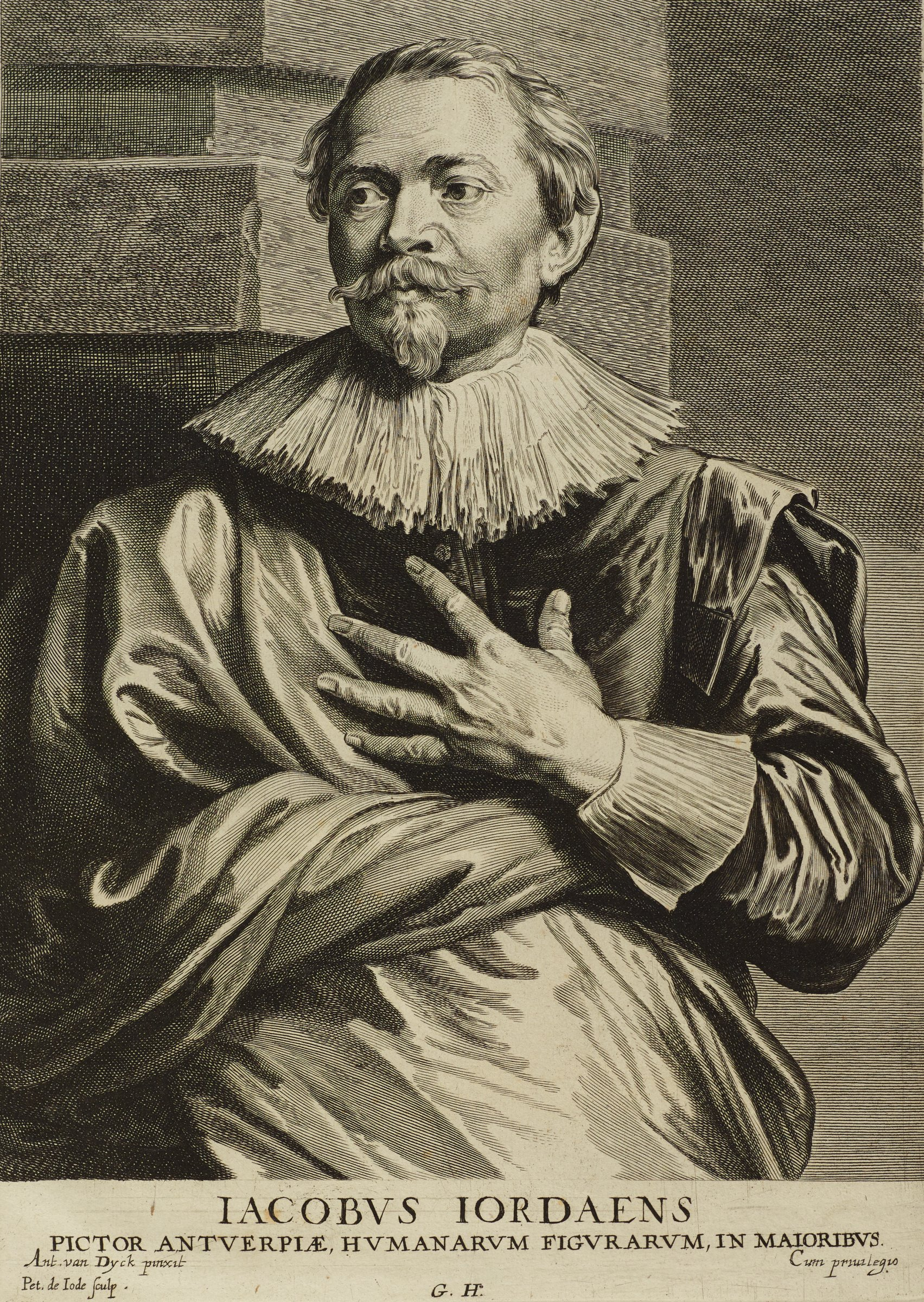 Jordaens, a painter, stands in front of a stone structure dressed in fine clothing. He holds his left hand to his chest and looks slightly to the proper right. This image is from the Gillis Hendricx edition of the Iconography (Icones Principum Virorum Doctorum, Pictorum Chalcographorum Statuorum nec non Amatorum Pictoriae Artis Numero Centum), 1632-44.