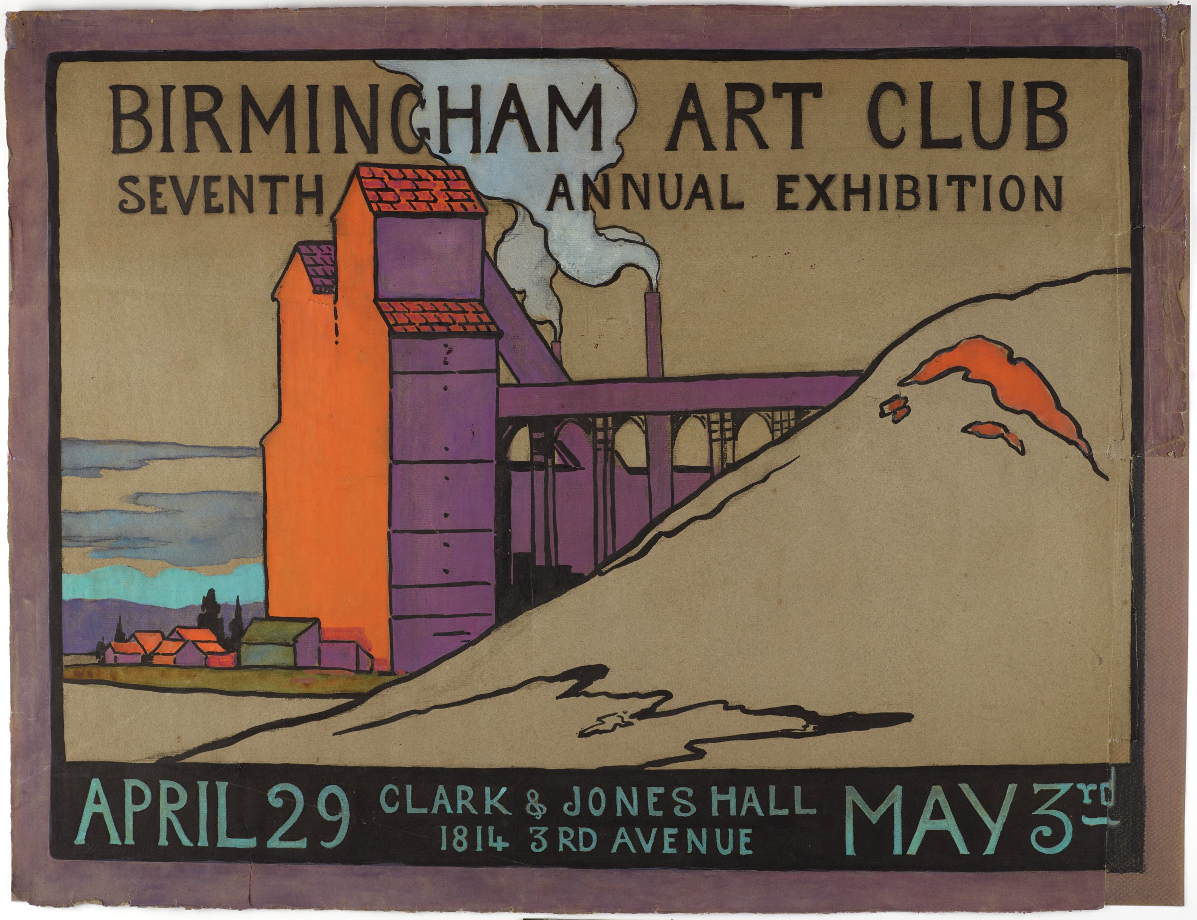 Poster for the Birmingham Art Club 7th Annual Exhibition, Lucille Douglass, watercolor and India ink on paper