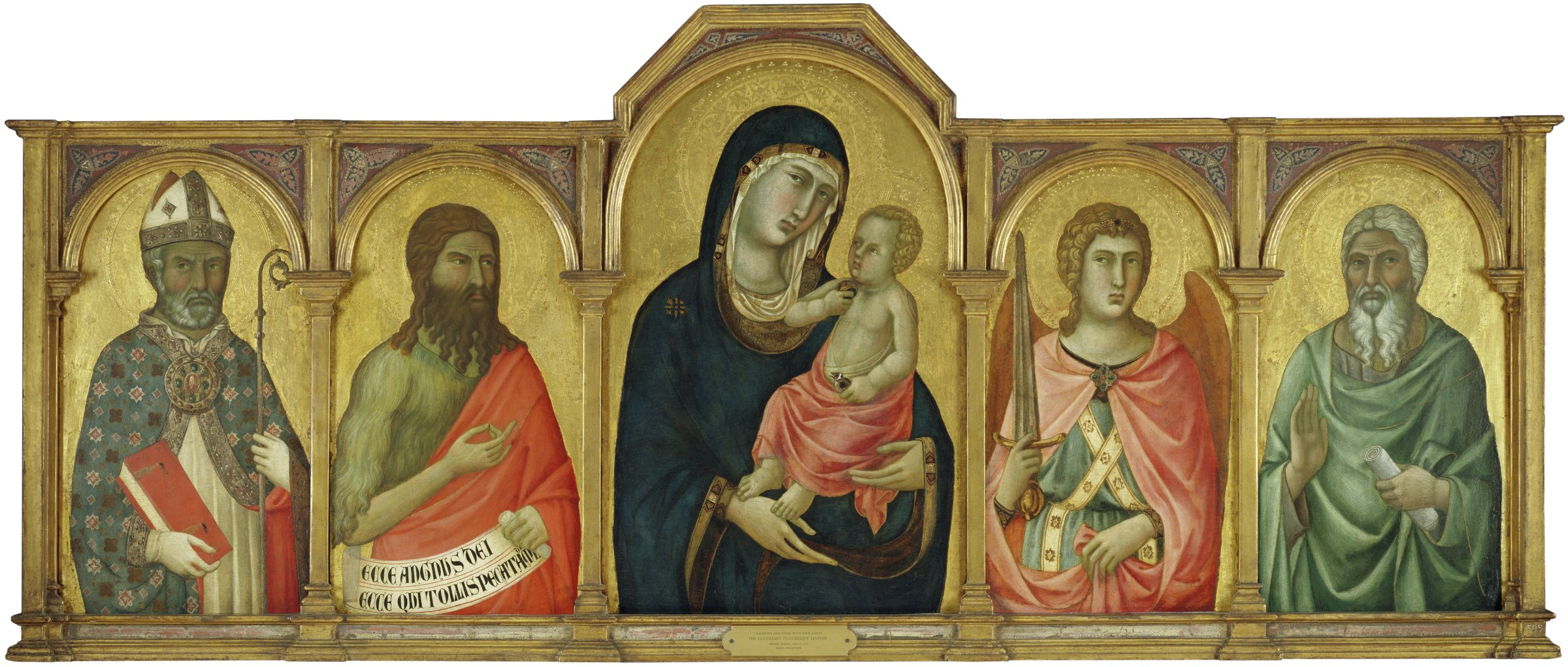 The Madonna holds the Christ Child in her arms. The Child holds her veil in one hand and in the other, a goldfinch, a symbol of the Passion. The Madonna and Child are flanked by two saints on either side: a bishop saint and Saint John on the left and Saint Michael and an unidentified saint on the right.