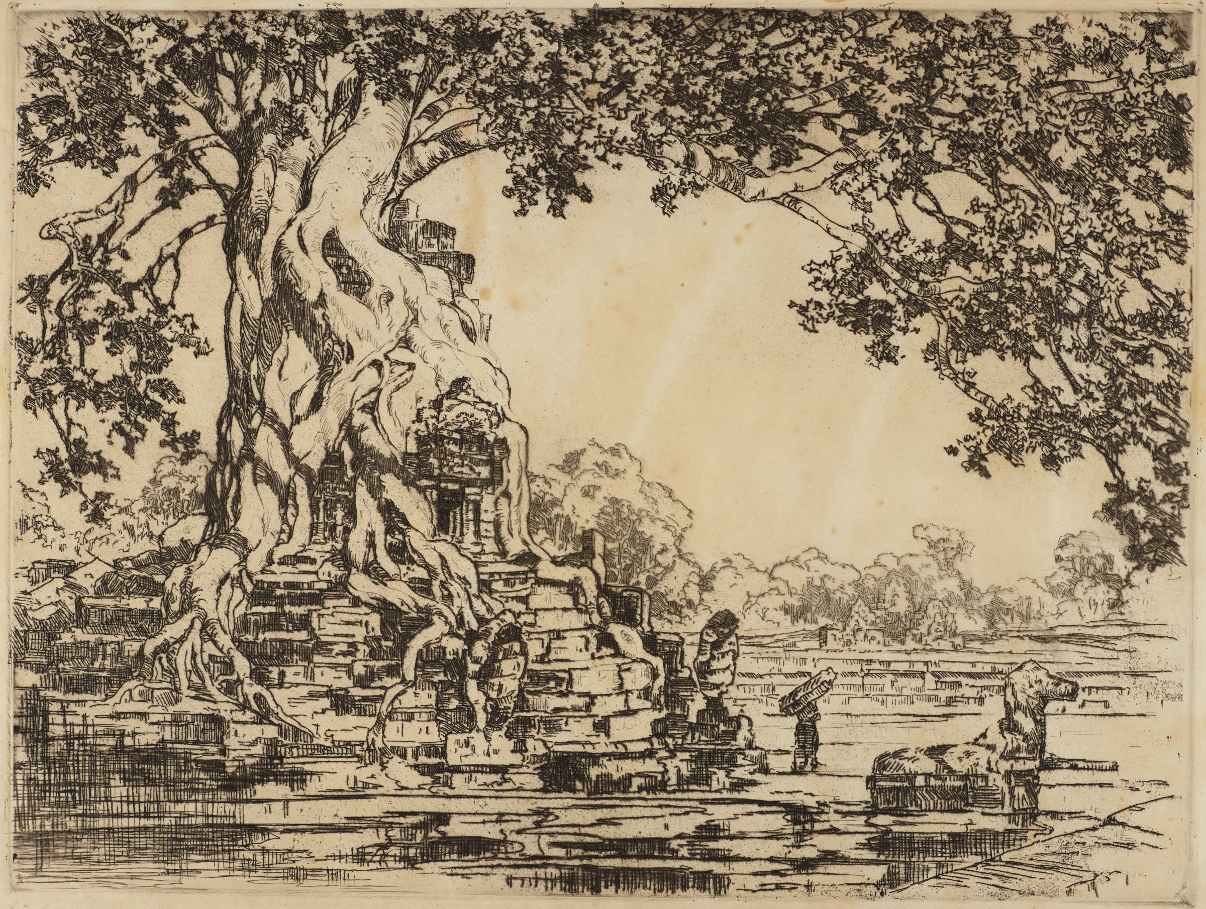 Neak Pean, Cambodia, Lucille Douglass, etching