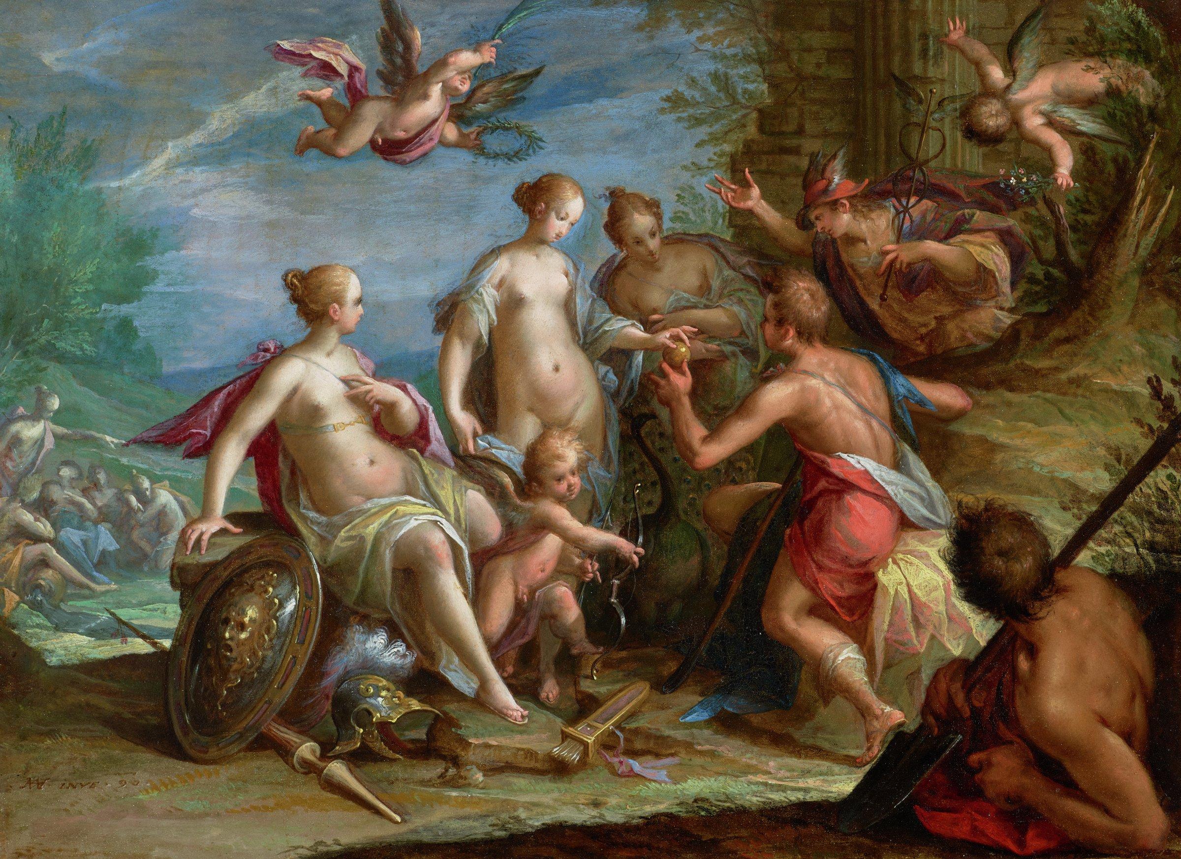 The Judgment of Paris, Hans von Aachen, oil on copper