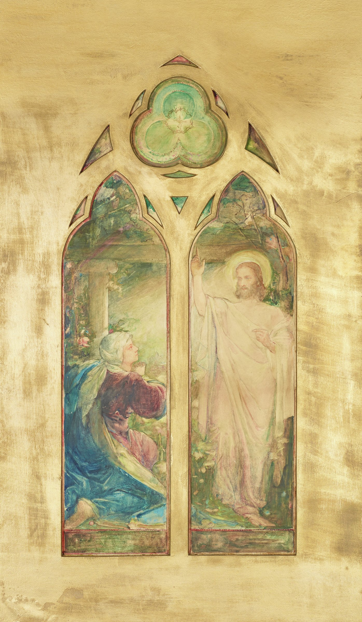 This watercolor and its custom-cut, gold-colored mat represent a stained glass window for a church. The format includes two long, figural lower panels as well as twelve additional decorative elements above. Together all of these cut outs form a pointed (gothic) arch. In the lower left figural panel a woman (the Virgin Mary) wearing blue drapery kneels in front of a column. In the lower right figural panel a man (Jesus) wearing pink-white drapery raises his right arm, pointing his index finger.