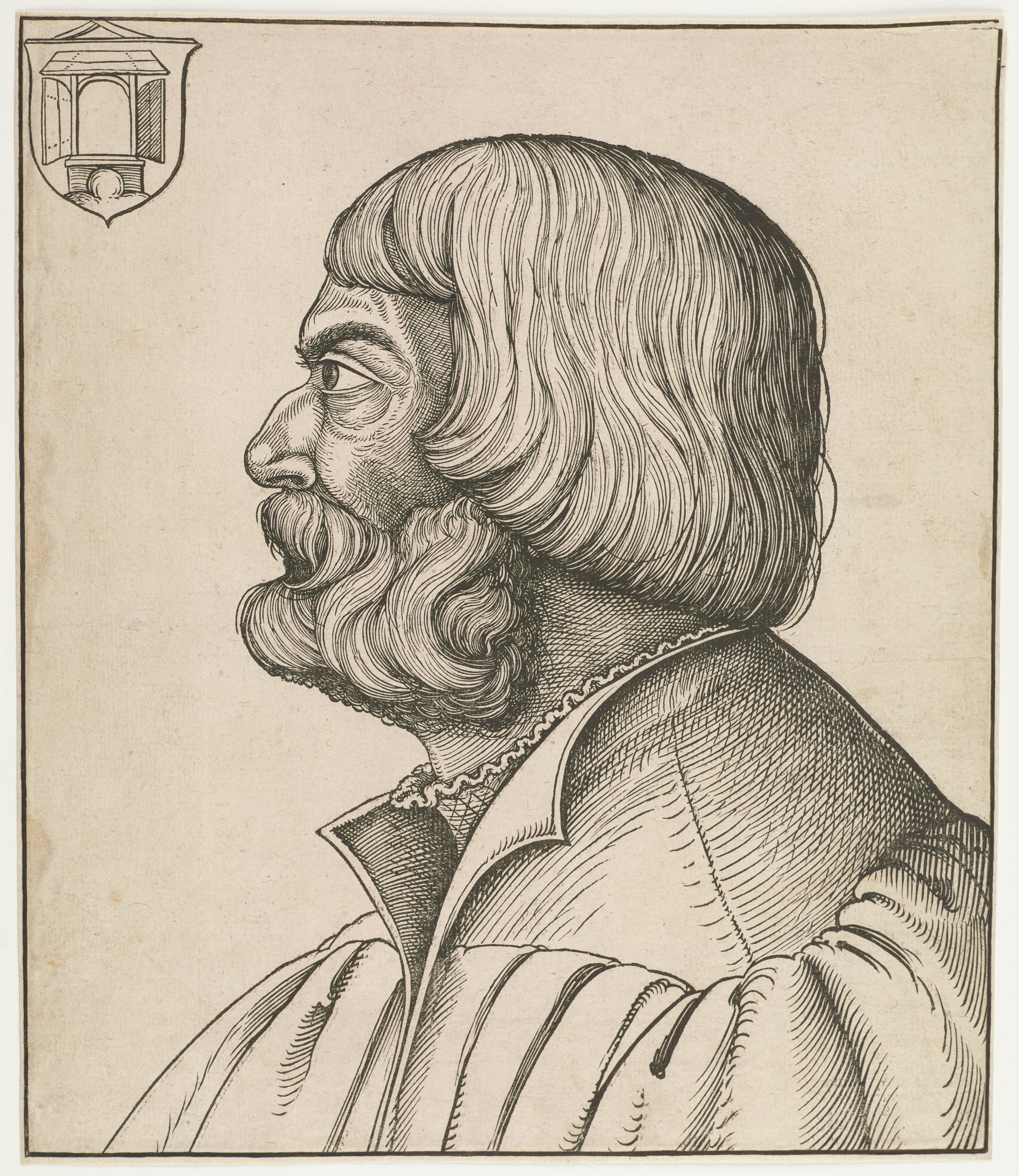 Bust portrait of Albrecht Dürer in profile, turned to the left against an empty background. In the top left corner is a coat of arms with a five square chequer board (cf. Meder 257)