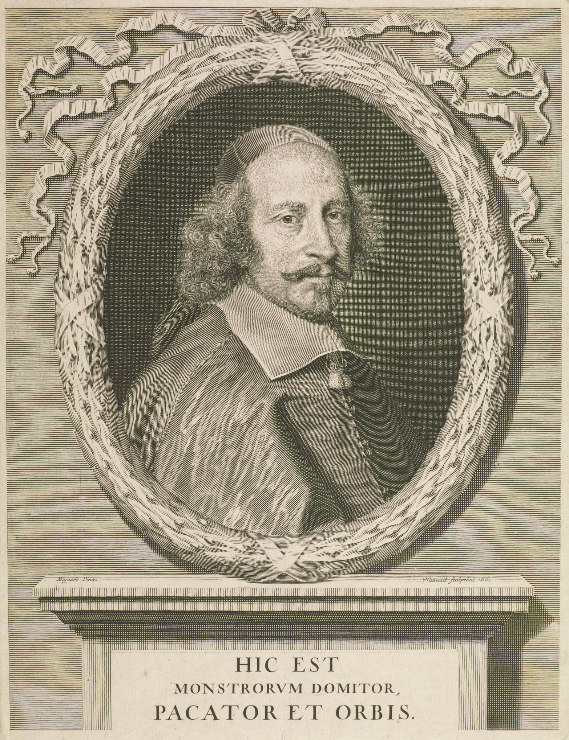 Portrait of Cardinal Jules Mazarin depicted within an oval wreath placed above a mantle. He wears a cap and tassels hang from beneath his wide collar.