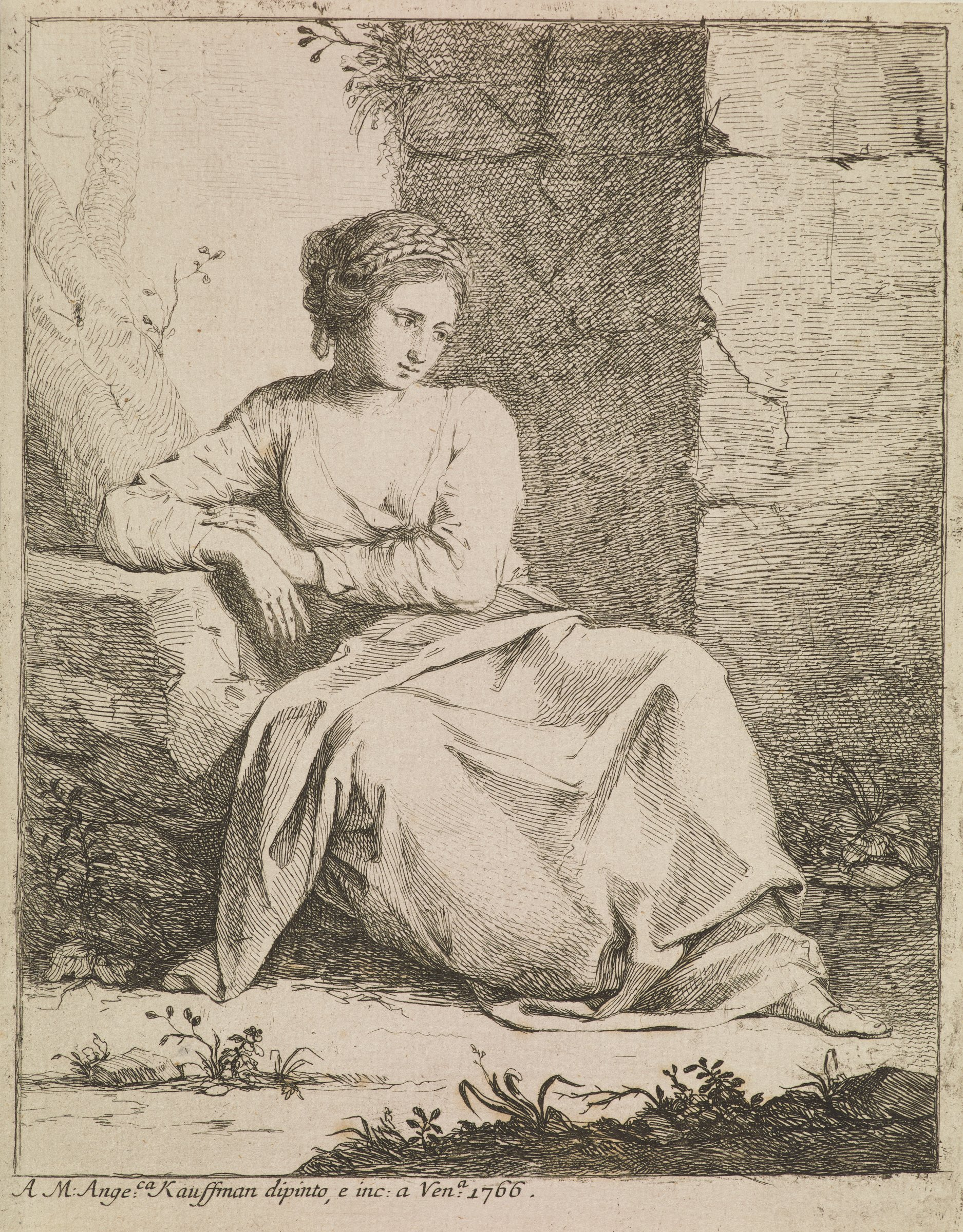 A woman sits on the ground with her arm propped on a rock. She looks to the right.
