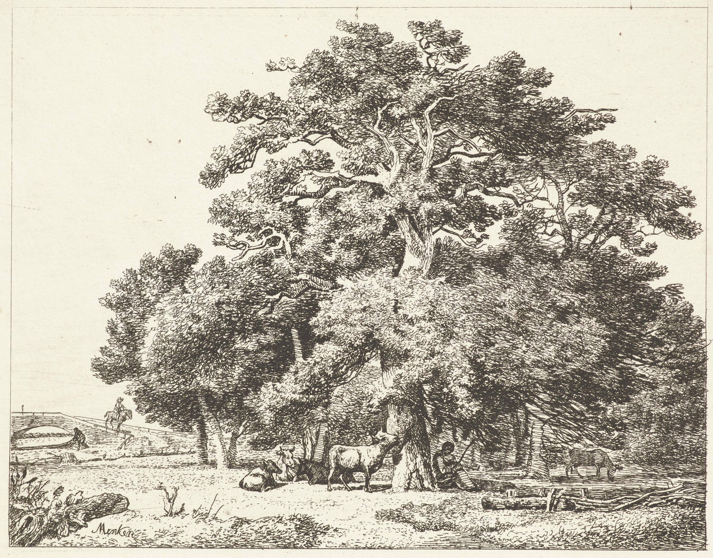 A figure sits underneath a grove of large trees. Cows graze and lay nearby.