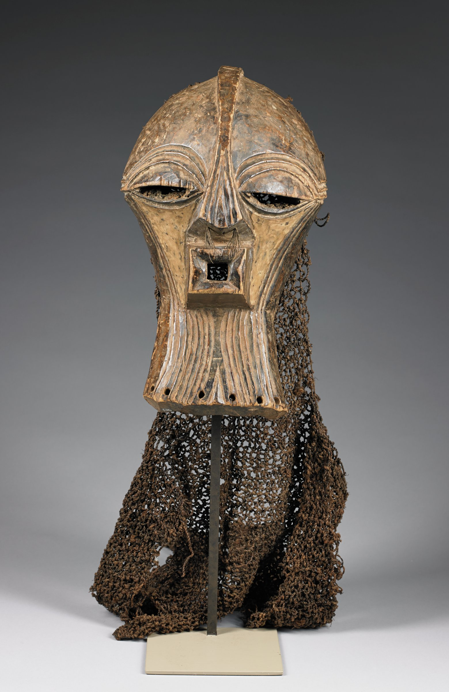 Mask for Kifwebe Society, Songye people, Democratic Republic of the Congo, African, wood, pigment, raffia, string
