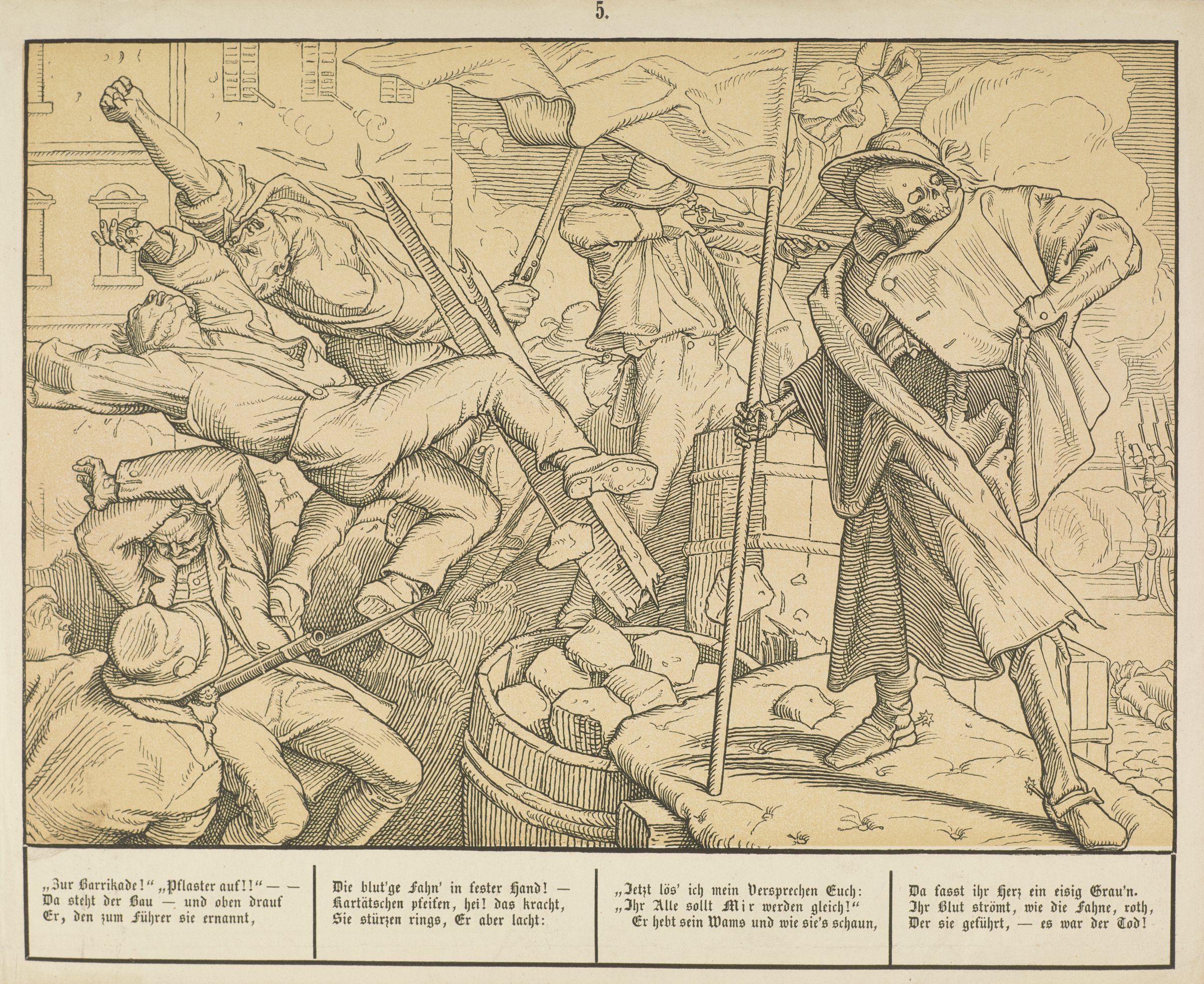 On the right, a skeleton dressed in a coat and hat stands holding a flag as he looks to the right. On the left, several men shoot guns and others fall backwards.