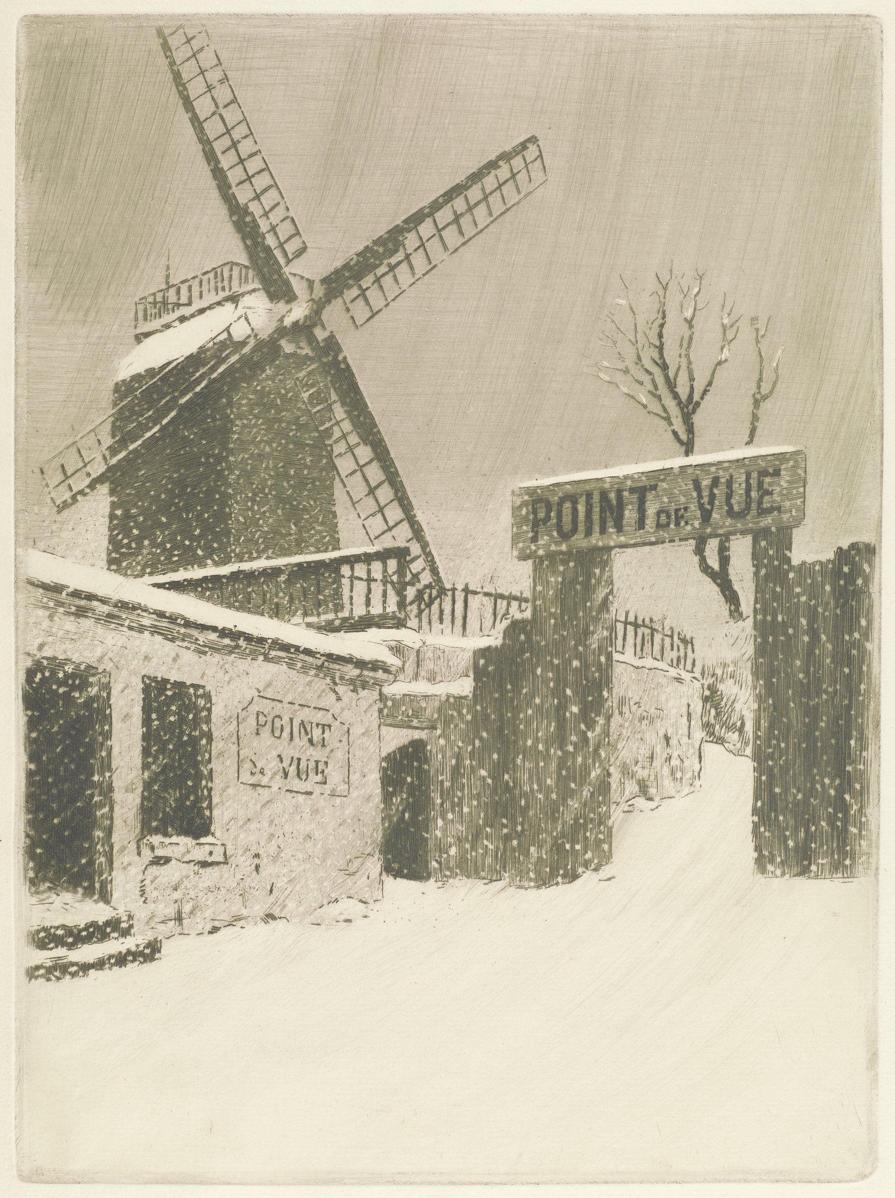 """A small building and a fence with signs that read """"Point de Vue"""" make up the center of the composition. A windmill stands in the background. This scene is set during a snowfall."""