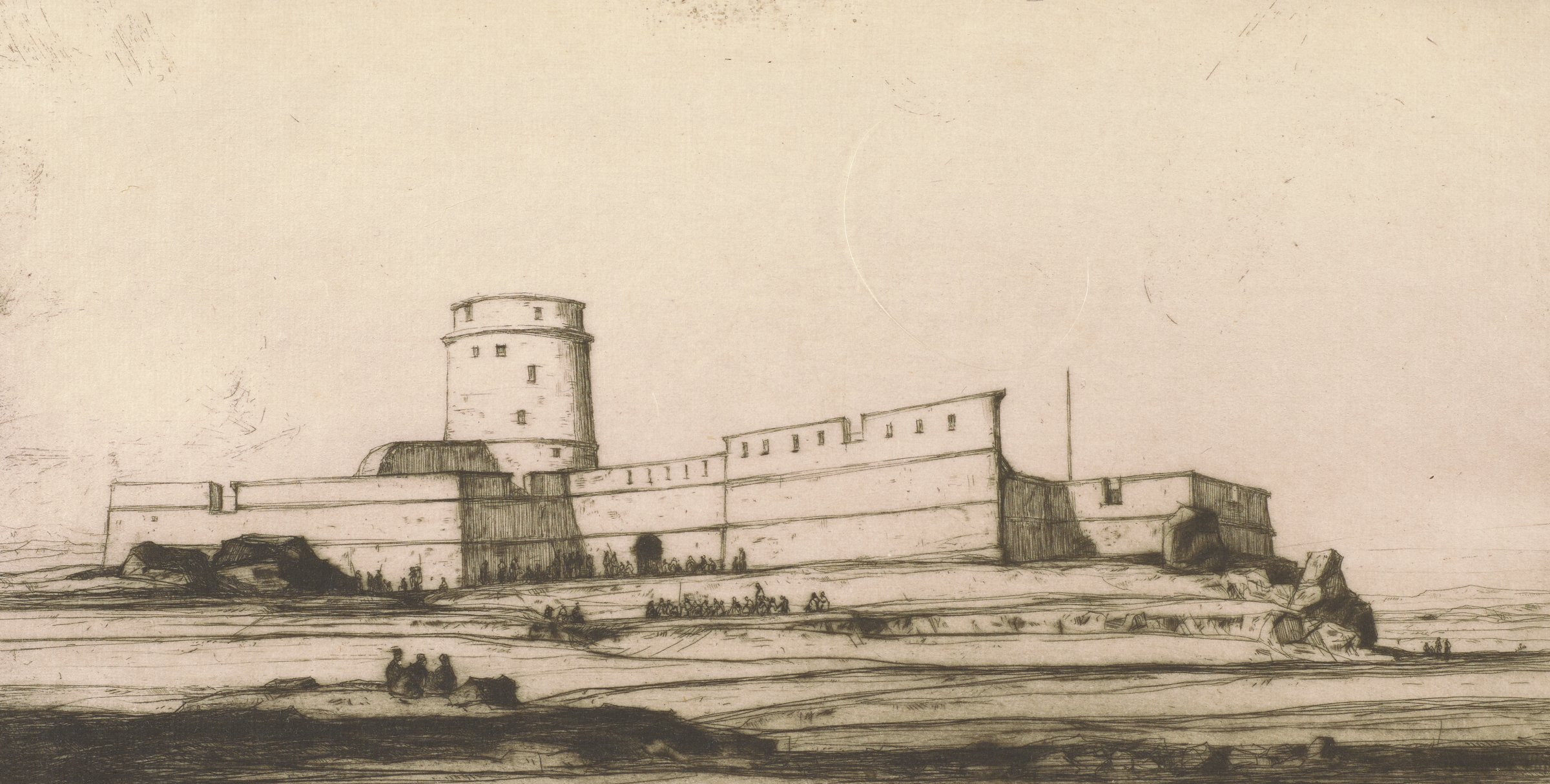 Image of a Turkish fort on the Mokattam Hill, near Cairo, with crowds of people standing among the surrounding landscape.