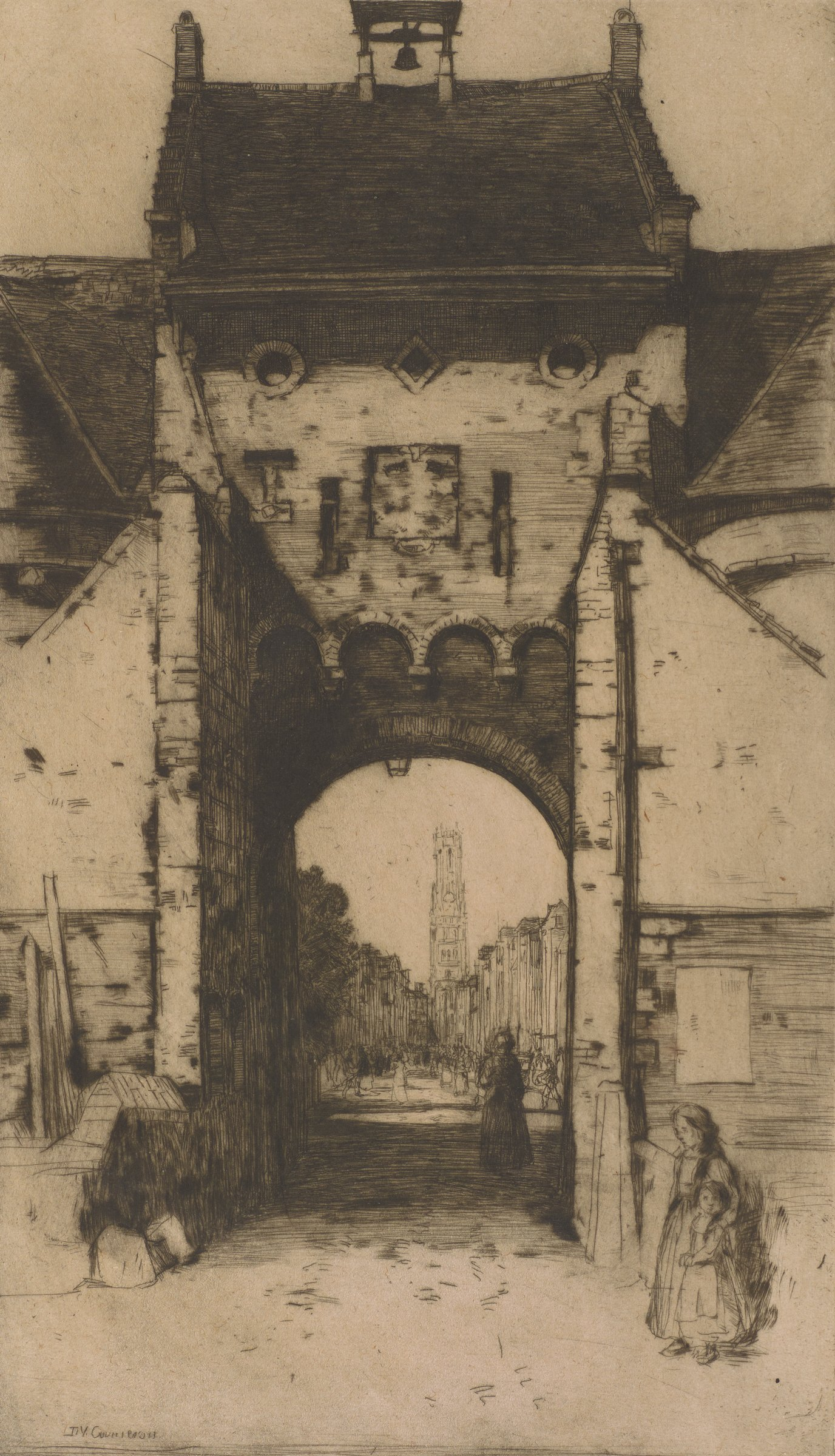 View of the Gateway of Bruges with two children standing in the right foreground. The Belfry is seen through the archway in the distance.