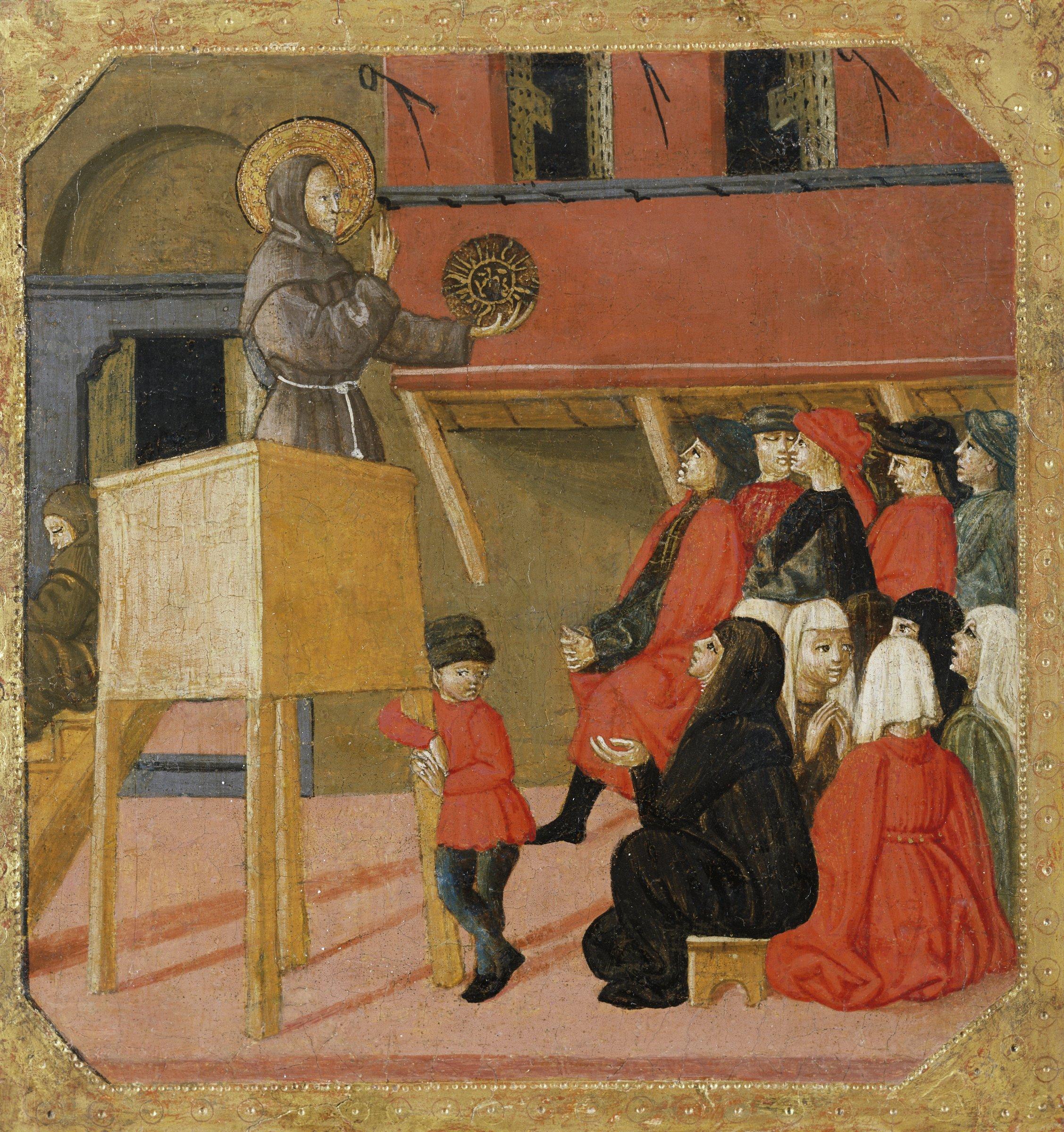 Saint Bernardino stands in a pulpit, preaching to the church-goers below.