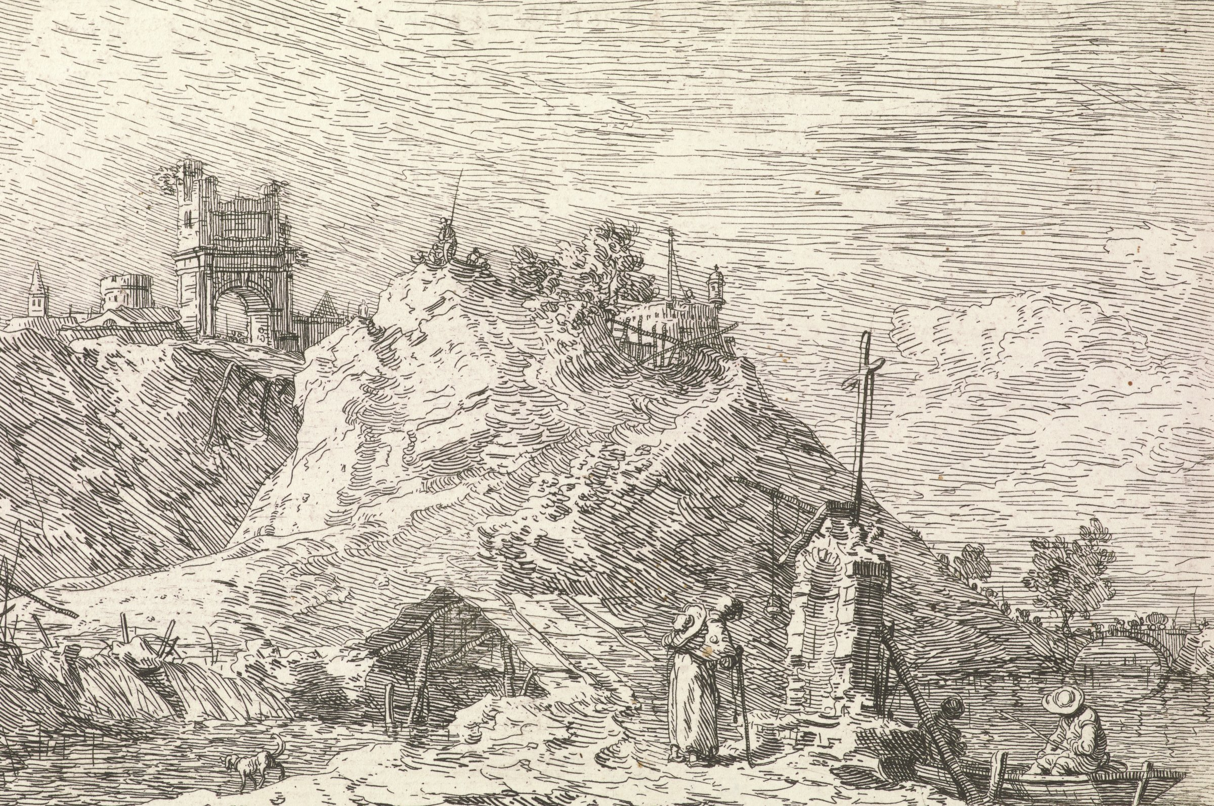 A pilgrim in the center foreground stands before a roadside altar. A boat with two fisherman sits in the river on the right. A mountain with an architectural structure and figures stands in the middle ground, and an archway to a city is seen in the distance.