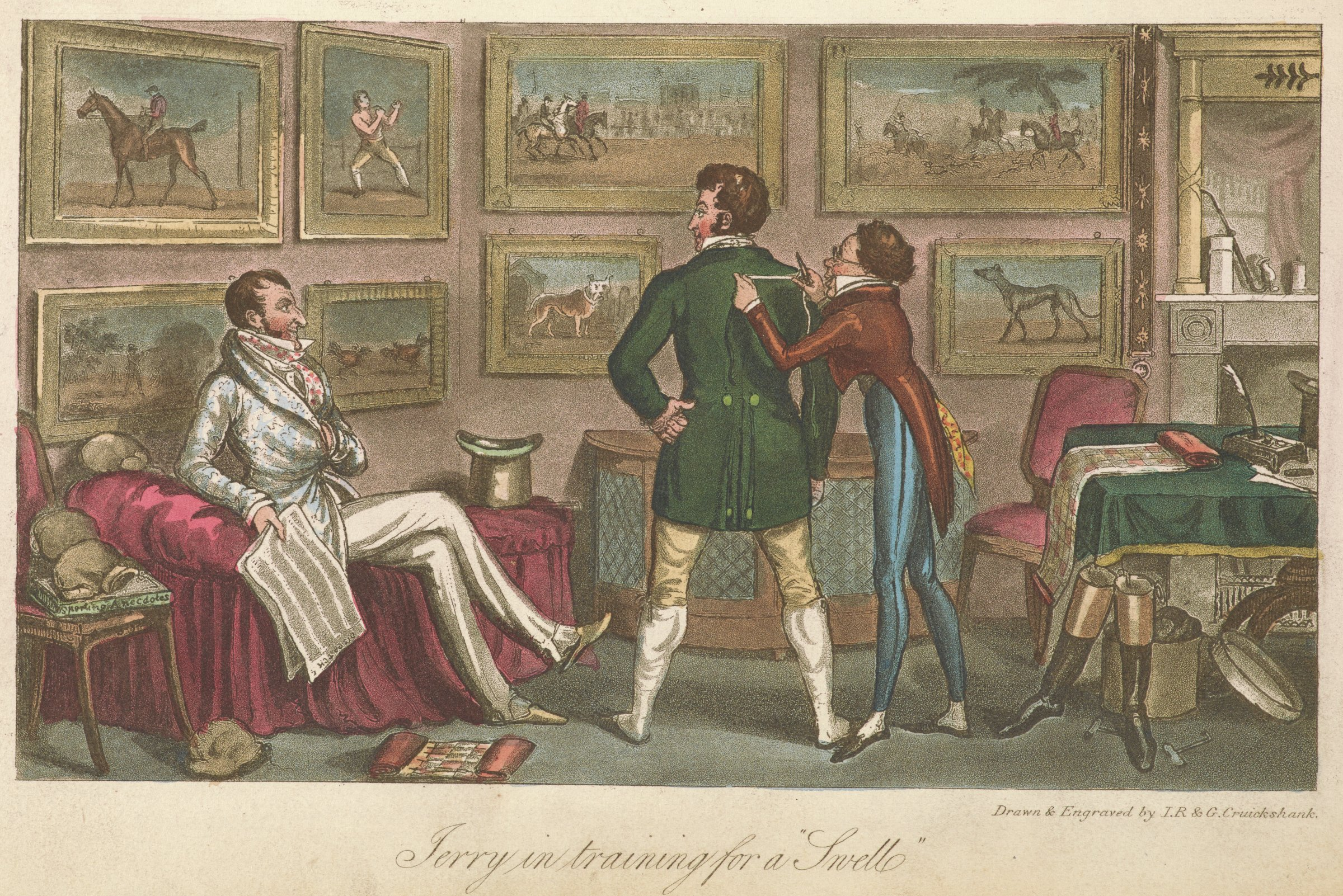 Scene of a man in a green jacket in a fitting with a man holding a measuring tape on the right. A man in a patterned jacket holds a newspaper and looks on from a couch on the left.