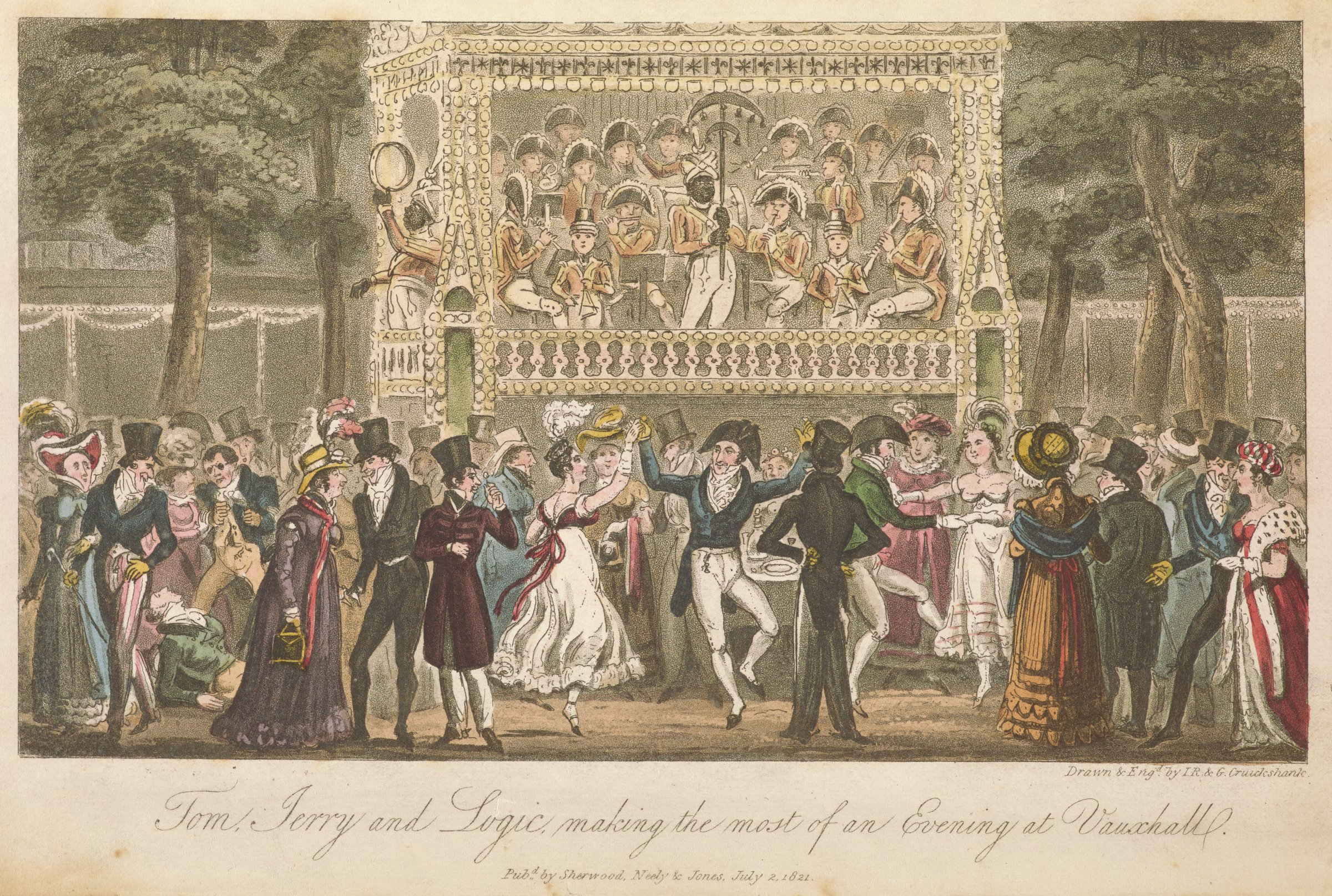 Outdoor scene of ladies and gentlemen dancing with a fight between two men on the left and a band playing on a stage behind. In the lower left corner, a man (Logic?) knocks another to the ground.