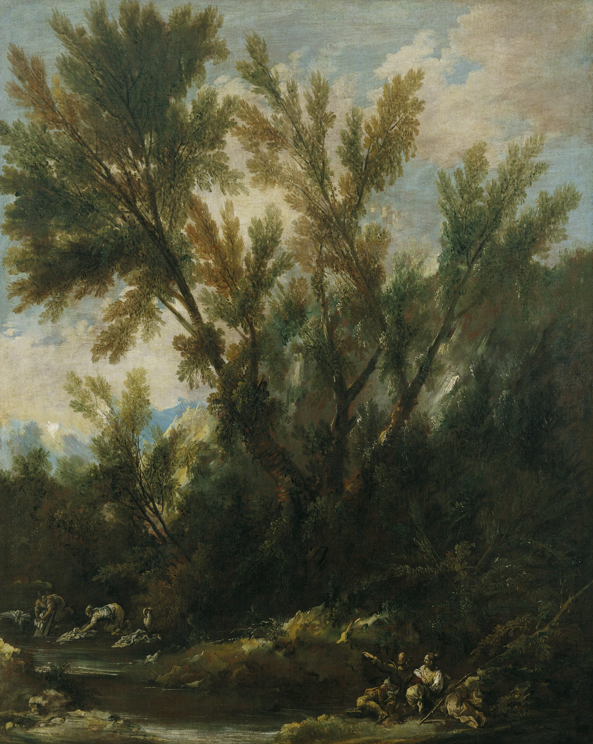 In a landscape of tall trees and thick bushes beside a pond, a couple talks in the foreground while women wash clothes in the distance.