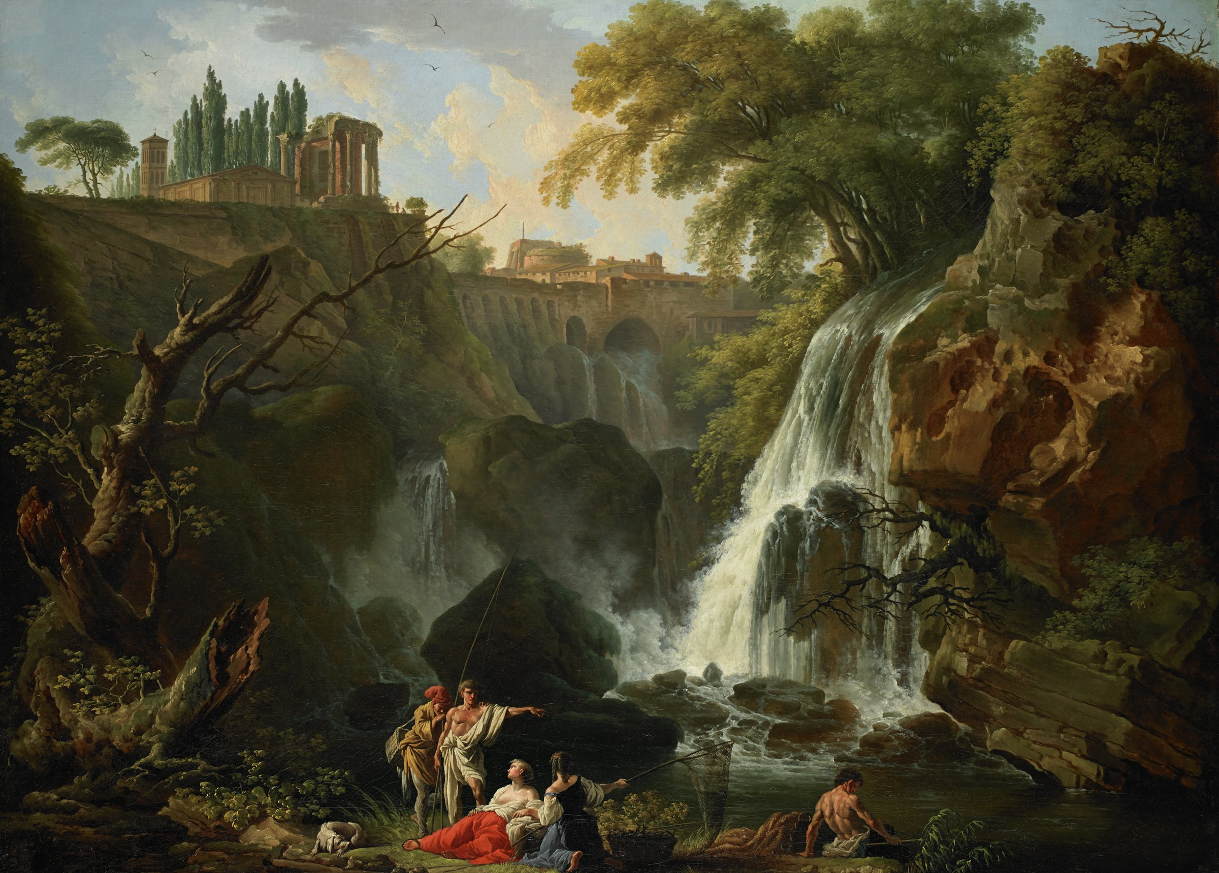 The Cascade at Tivoli, Claude-Joseph Vernet, oil on canvas