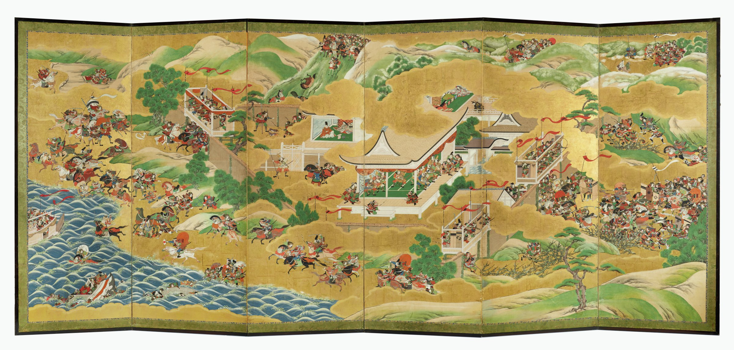 """A large-scale six-panel folding screen showing various episodes in the Battle of Ichinotani from the """"Tale of the Heike."""" Gold clouds separate scenes. Kano school Machi-eshi workshop piece. Companion screen whereabouts unknown.Mon depicted on shields include Chiba's 9-dots"""