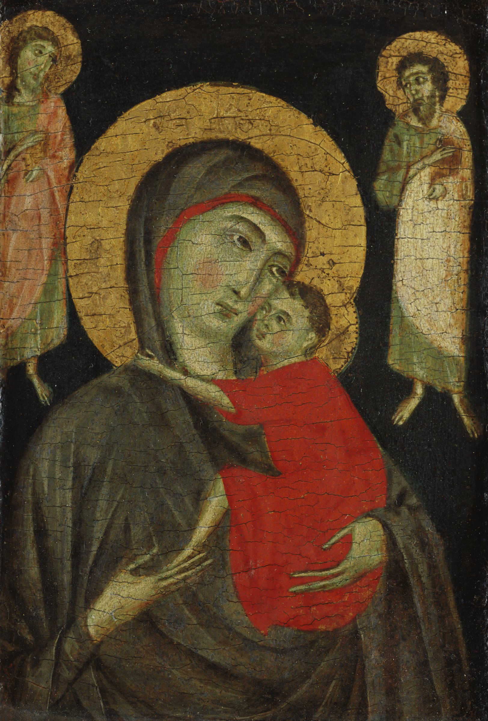 The Madonna holds the Christ Child in her arms. The Child hugs her neck. Two saints depicted in a smaller scale than the Madonna stand on either side of her halo.