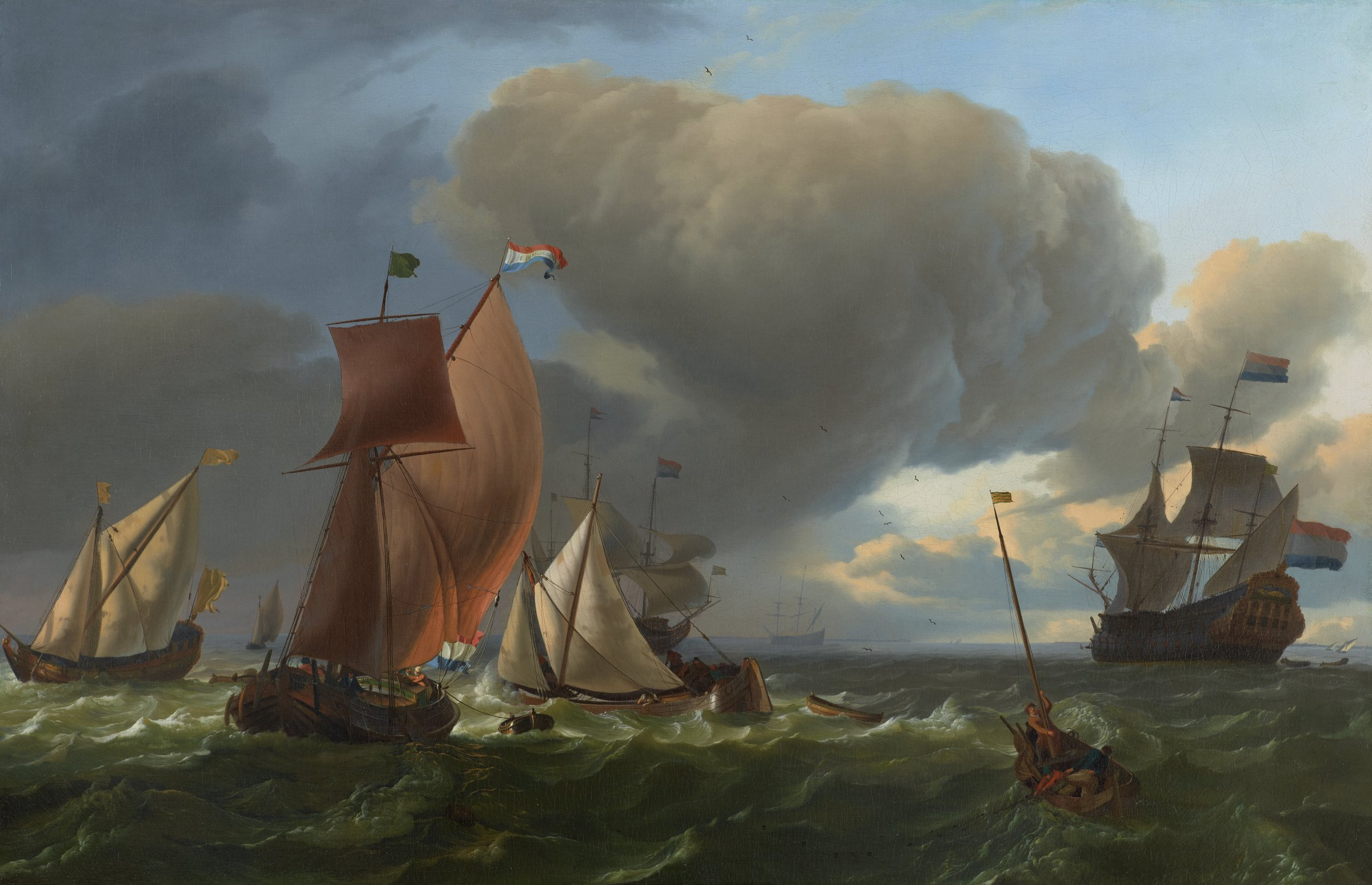 Ludolf Backhuysen was one of the foremost painters of marine subjects in 17th c. Holland. Beautifully preserved, this painting ranks among Backhuysen's most striking paintings of the late 1670s. On the left a number of smaller vessels navigate the rough sea in a steady, strong breeze. On the right fishermen are pulling in their nets and beyond the man-'o-war Bruinvisch sails towards the coastline in the far distance. The ominous sky in the foreground with dark, billowing clouds moving in from the left clears in the distance. Using a strong side light to illuminate the ships and the water in the foreground, Backhuysen creates a dramatic composition that emphasizes the changing weather conditions.