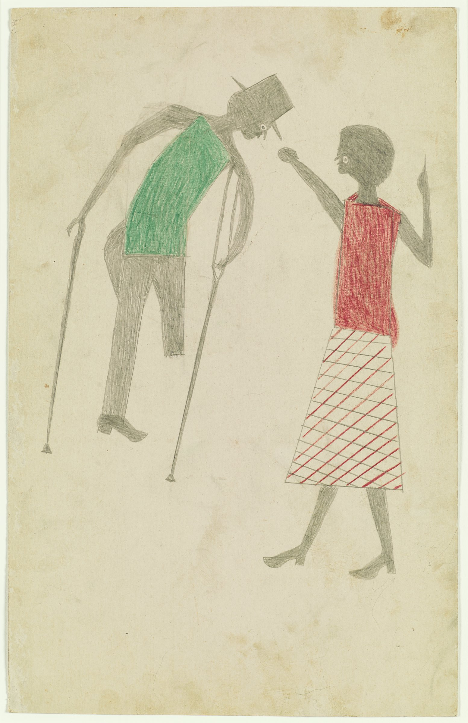 Drawing of two figures, woman on right, man on left