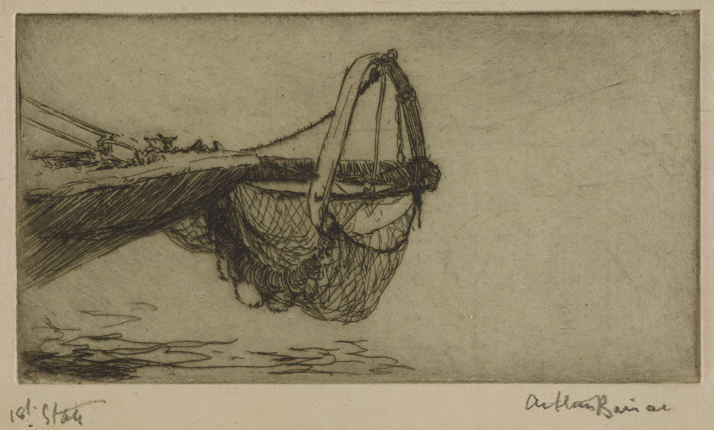 Image of a trawl net hooked to the front of a ship.