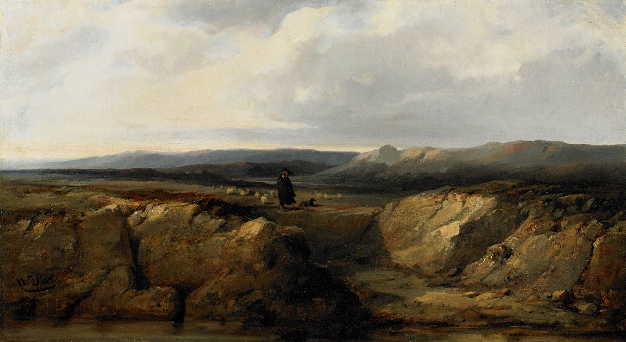 The Shepherd and his Flock, Narcisse Virgile Diaz de la Peña, oil on canvas
