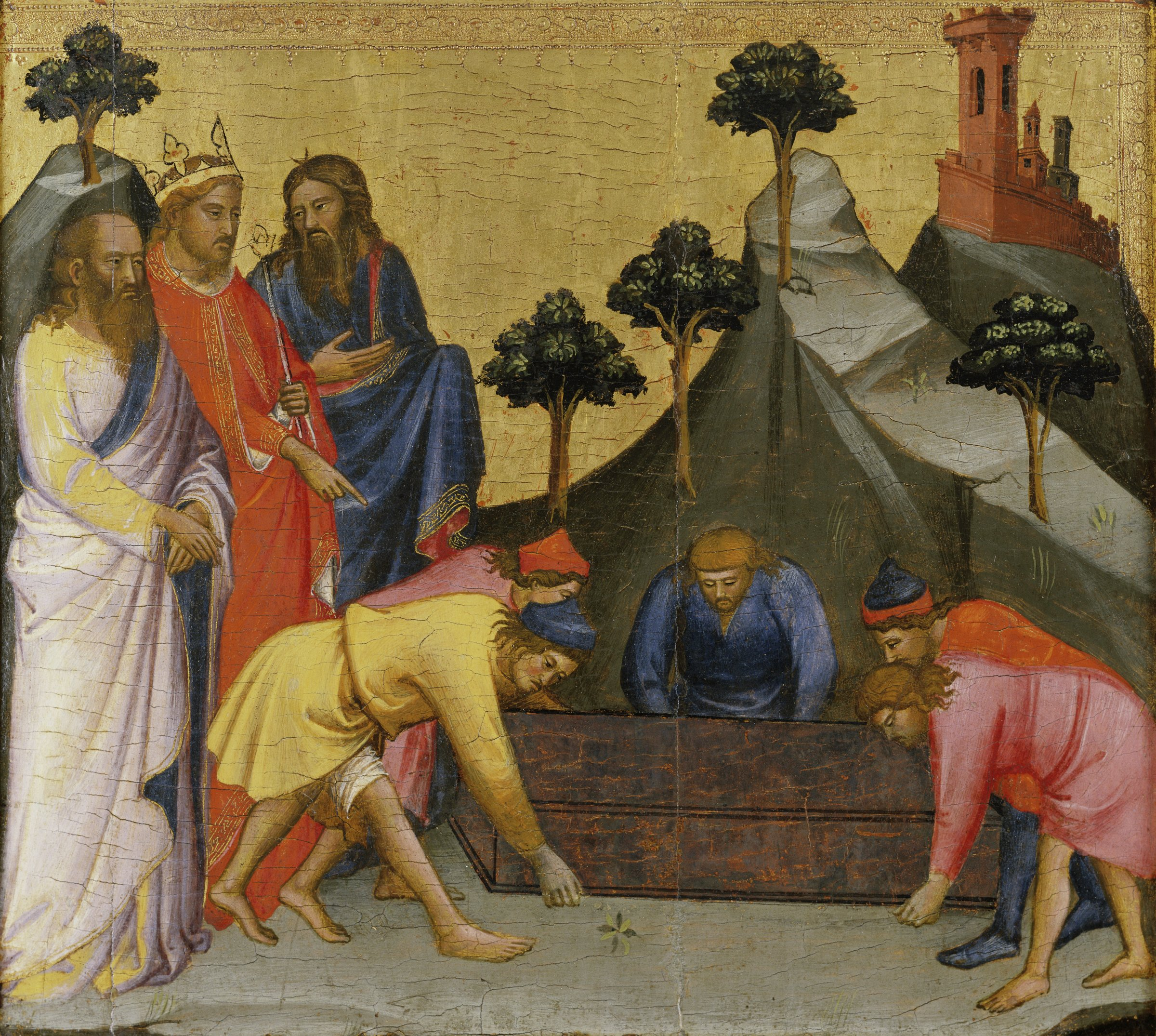 This painting depicts an episode from the legend of the Four Crowned Martyrs who were Christian sculptors working for the Roman Emperor Diocletian. When the sculptors refused to carve a statue of a pagan god, Diocletian ordered that the sculptors be sealed alive in lead coffins and thrown into a river. On the left, Diocletian, identified by his crown, directs a group of men in the center to lift a coffin.