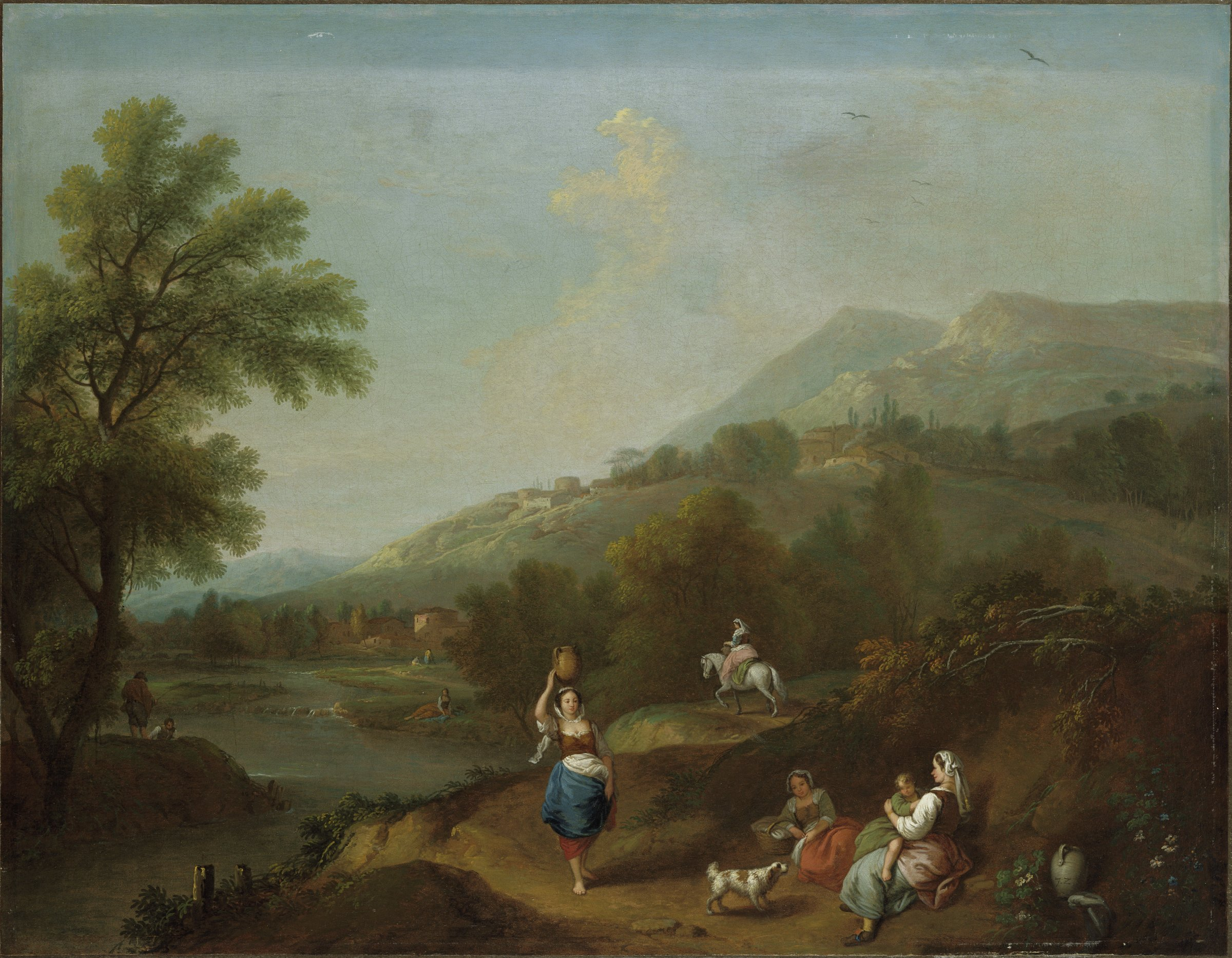 In this landscape, women rest by the side of the road on a hillside beside a river. Others walk and travel by horse. On the hill in the distance are villages with stone buildings.