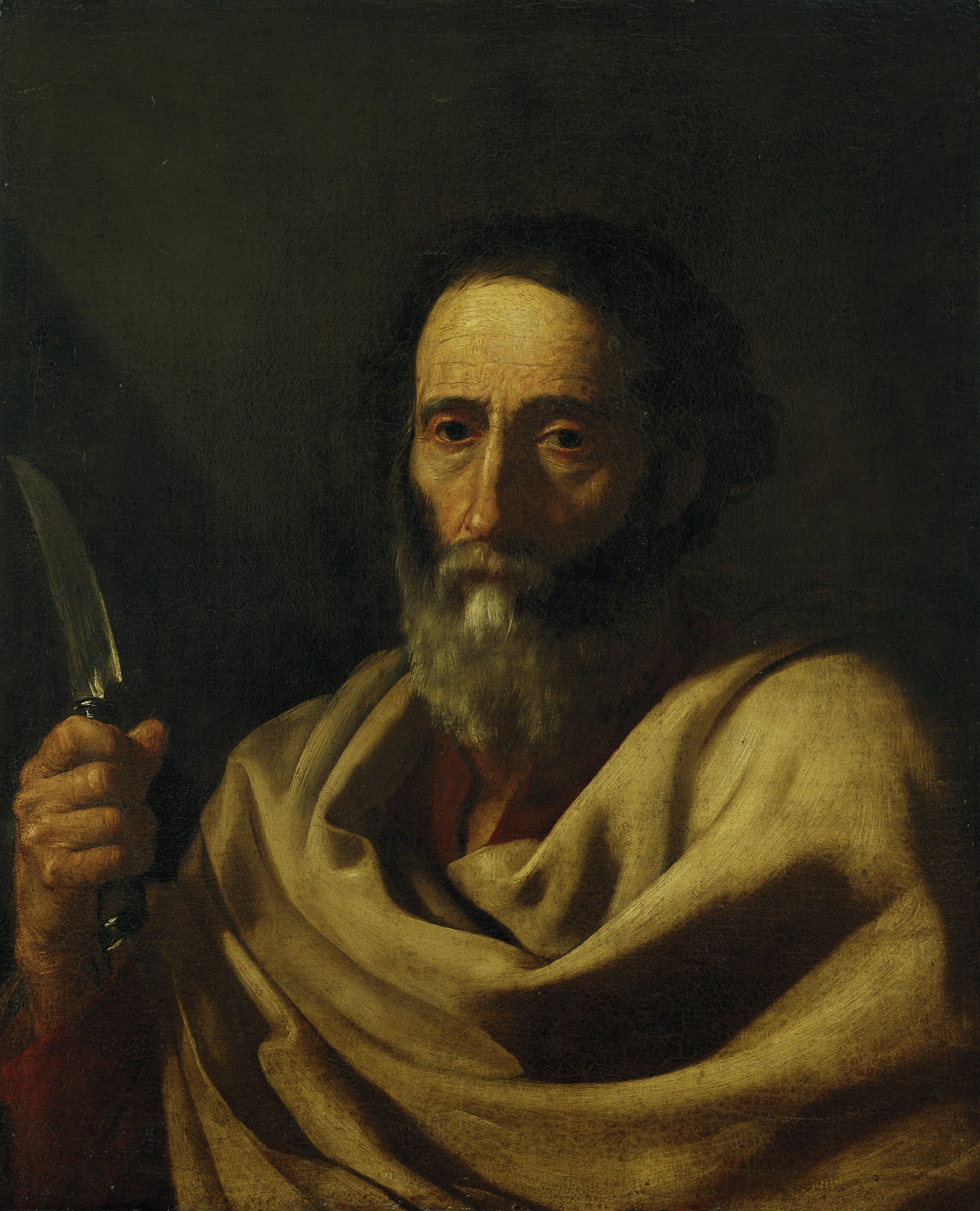 A bearded man, St. Bartholomew, is shown holding a knife, the symbol of his martyrdom.