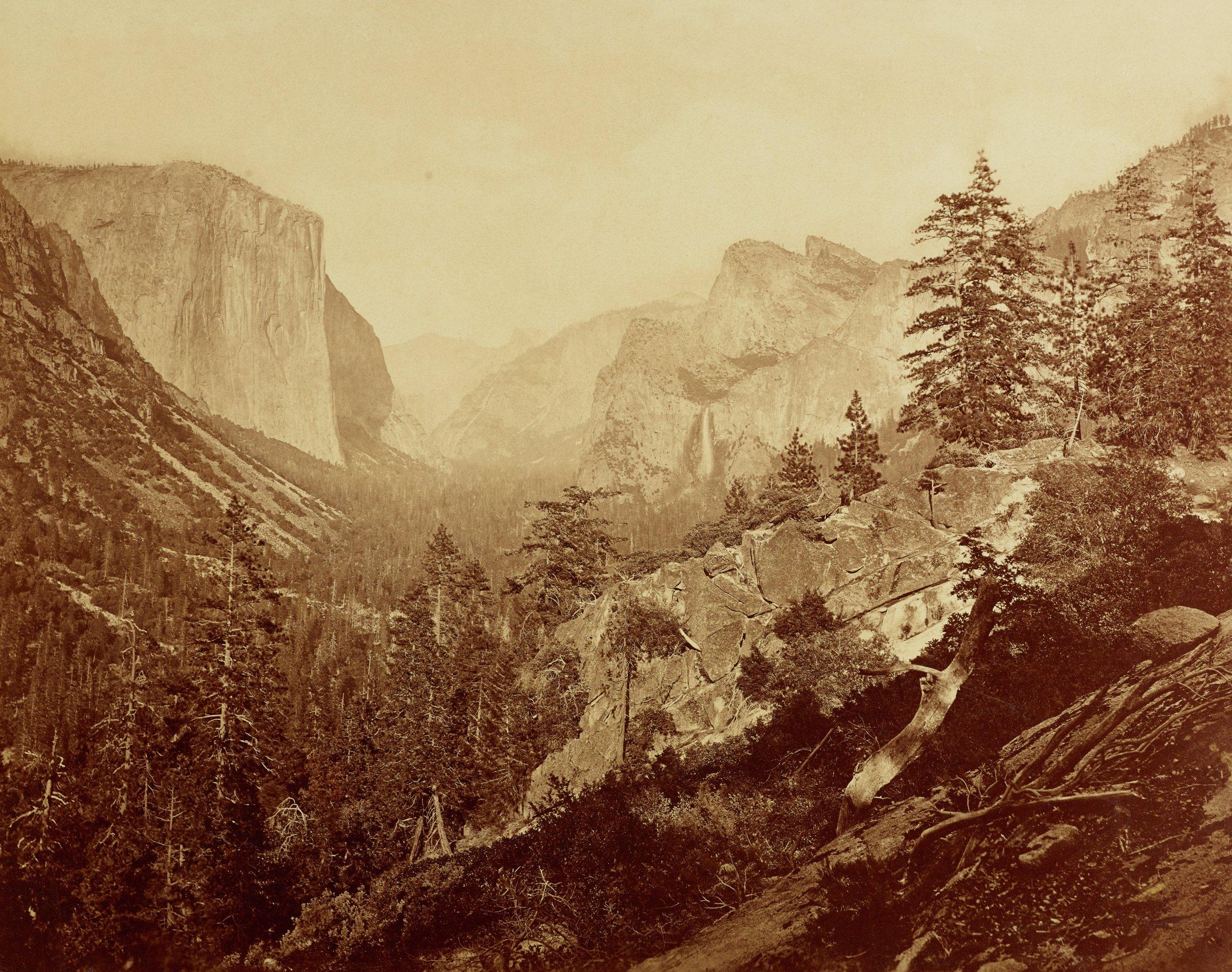 Valley of the Yosemite from Moonlight Rock, Eadwaerd Muybridge, mammoth-plate albumen print on original Bradley & Rulofson mount