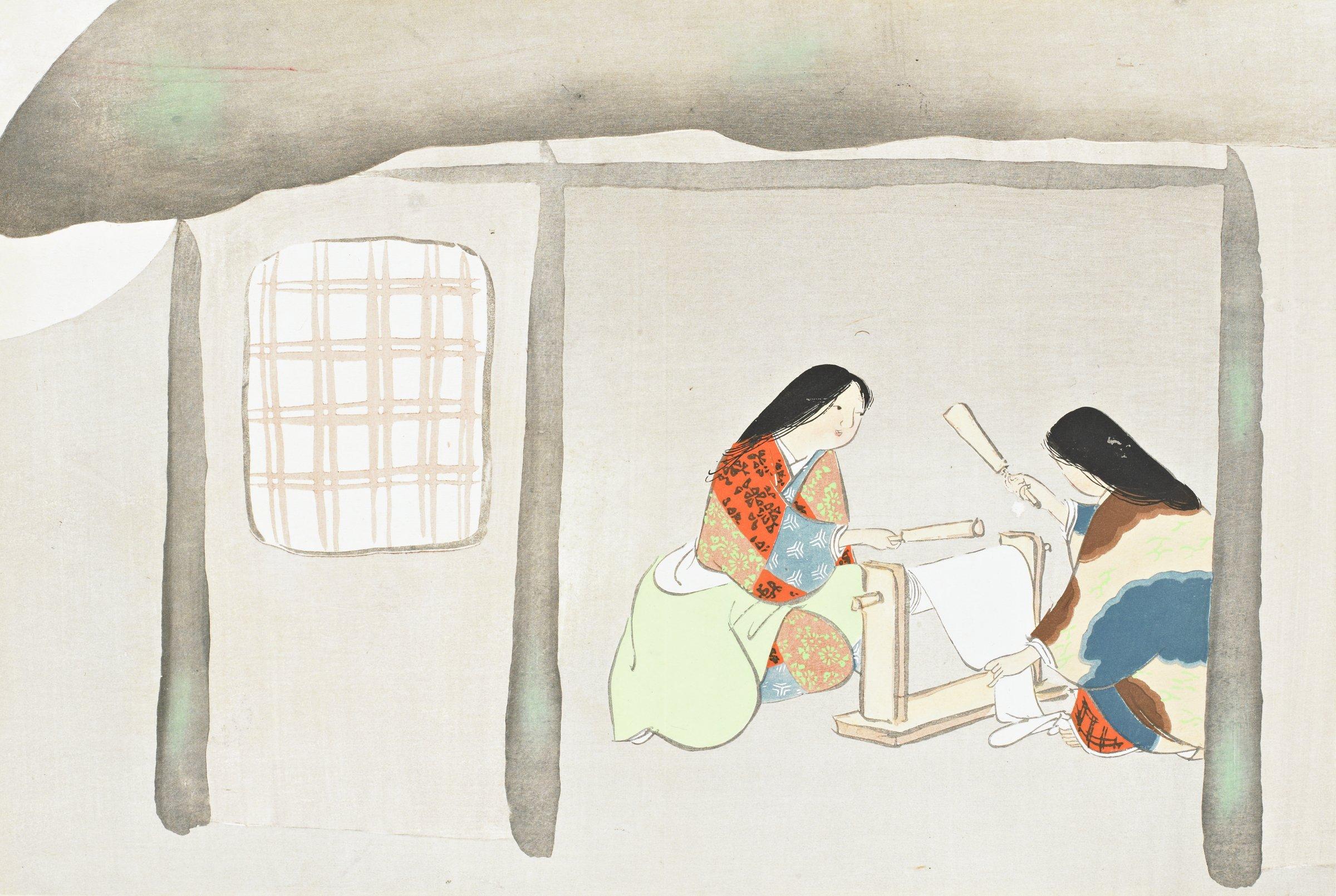 Uchiginu (Striking Silk Fabric on a Fulling Block), from Momoyogusa (A World of Things), Volume 3, Kamisaka Sekka, ink and color on paper