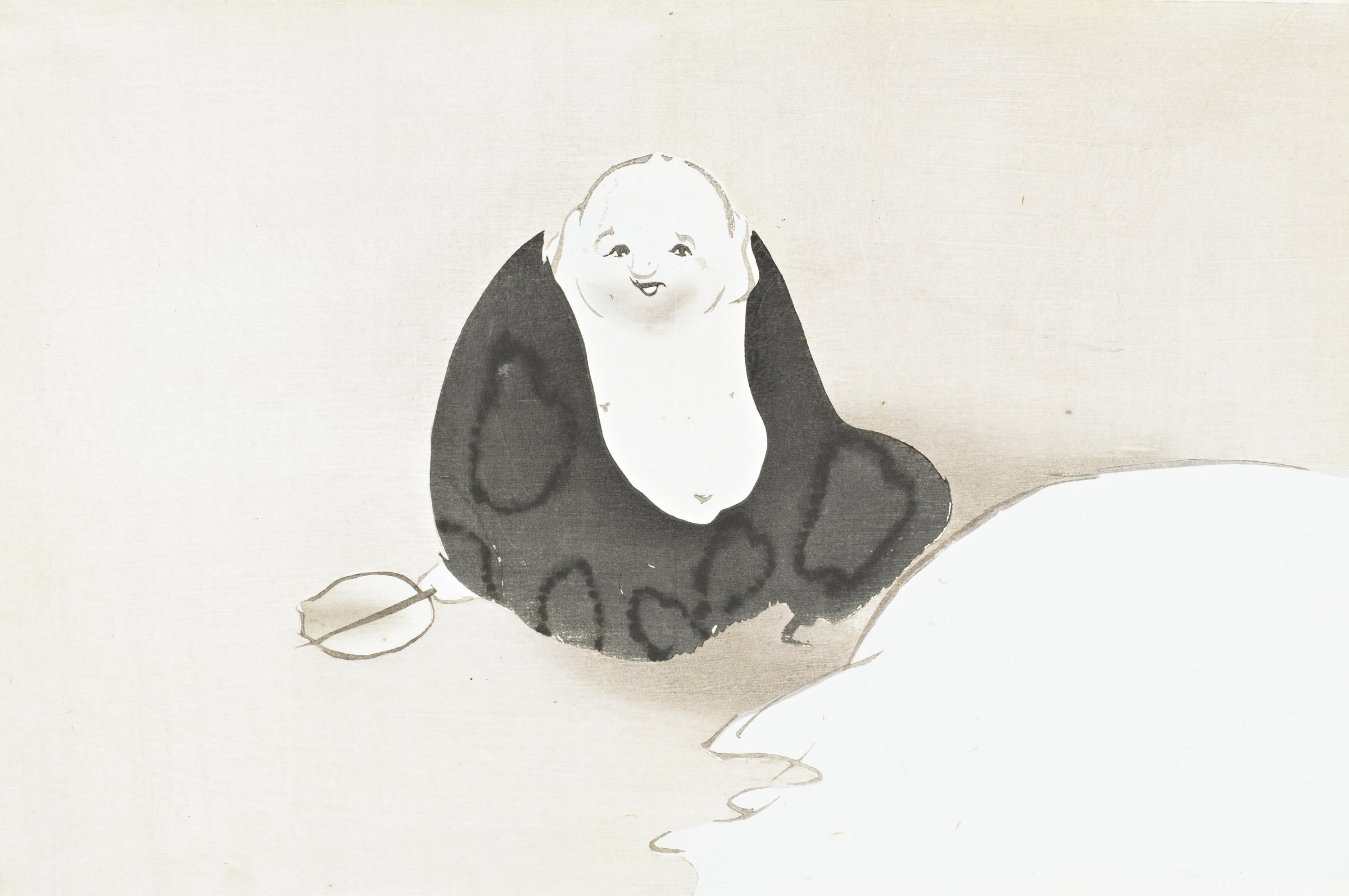 Hotei (One of the Seven Gods of Good Fortune), from Momoyogusa (A World of Things), Volume 3, Kamisaka Sekka, ink and color on paper