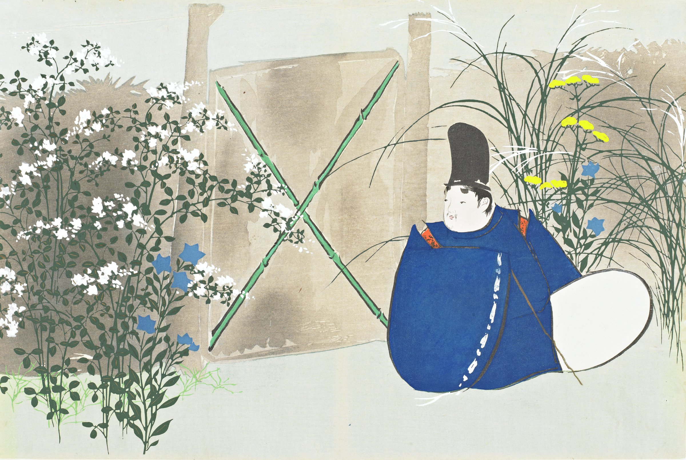 Nakaguni (Samurai from the Tales of Heike), from Momoyogusa (A World of Things), Volume 3, Kamisaka Sekka, ink and color on paper