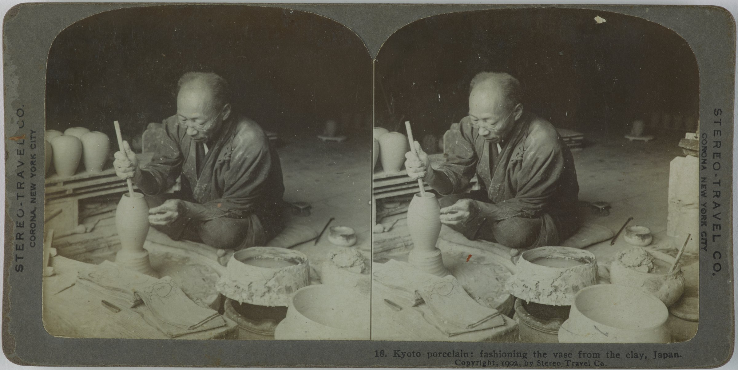 Kyoto porcelain: fashioning the vase from the clay, Japan, Stereo-Travel Co., gelatin silver prints mounted on card