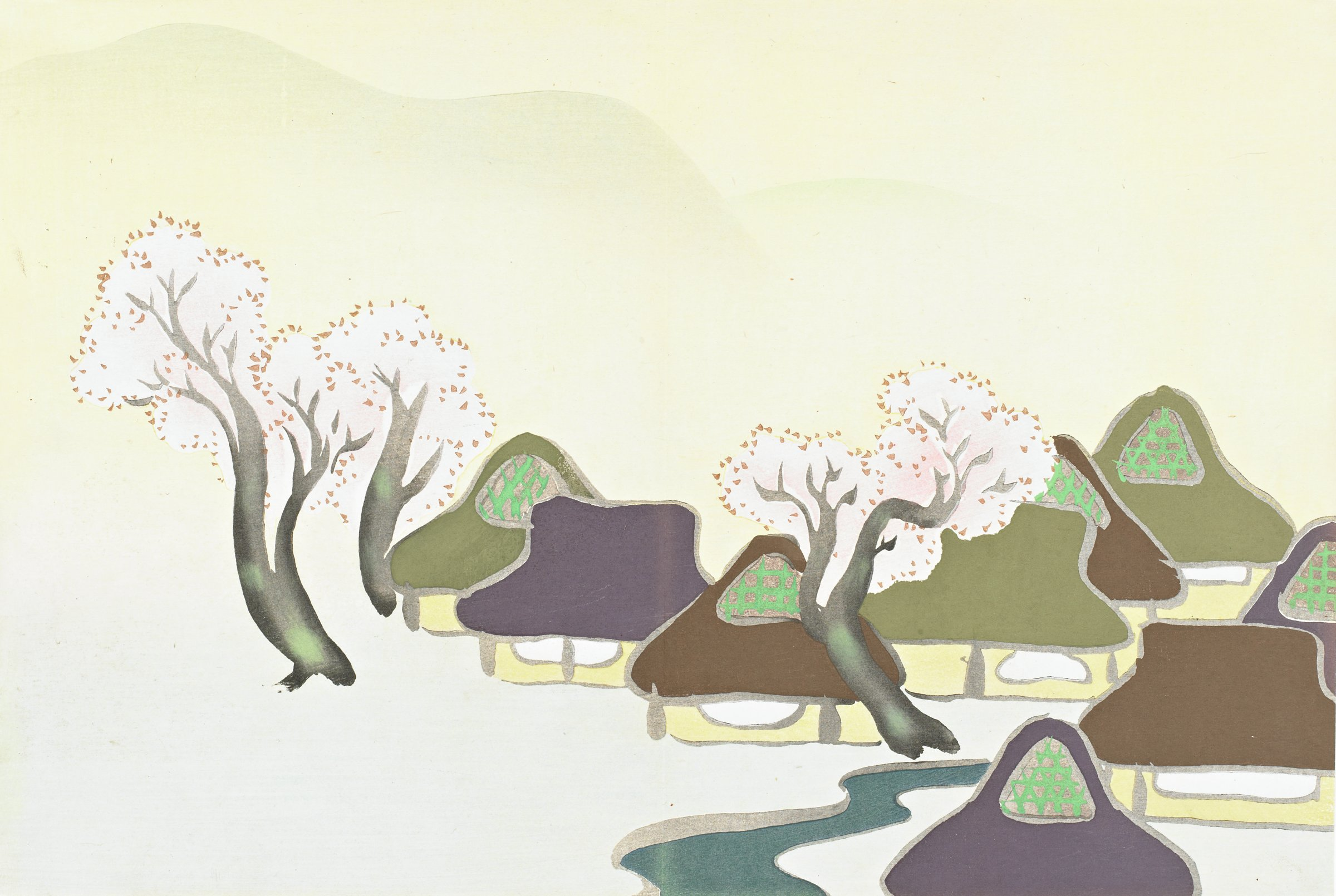 Harudenka (Farm Village in Spring), from Momoyogusa (A World of Things), Volume 3, Kamisaka Sekka, ink and color on paper