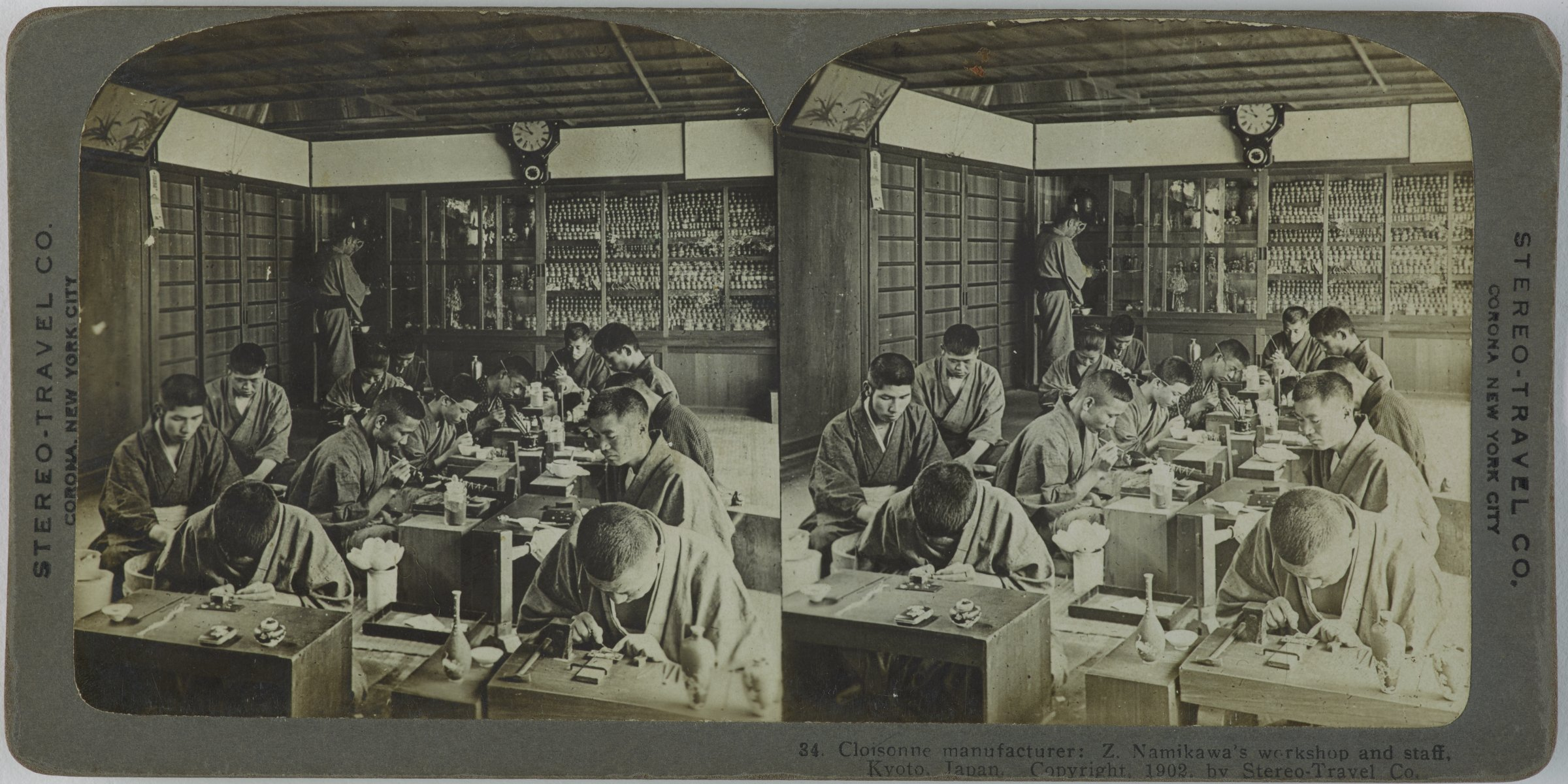 Cloisonne manufacturer: Z. Namikawa's workshop and staff, Kyoto, Japan, Stereo-Travel Co., gelatin silver prints mounted on card