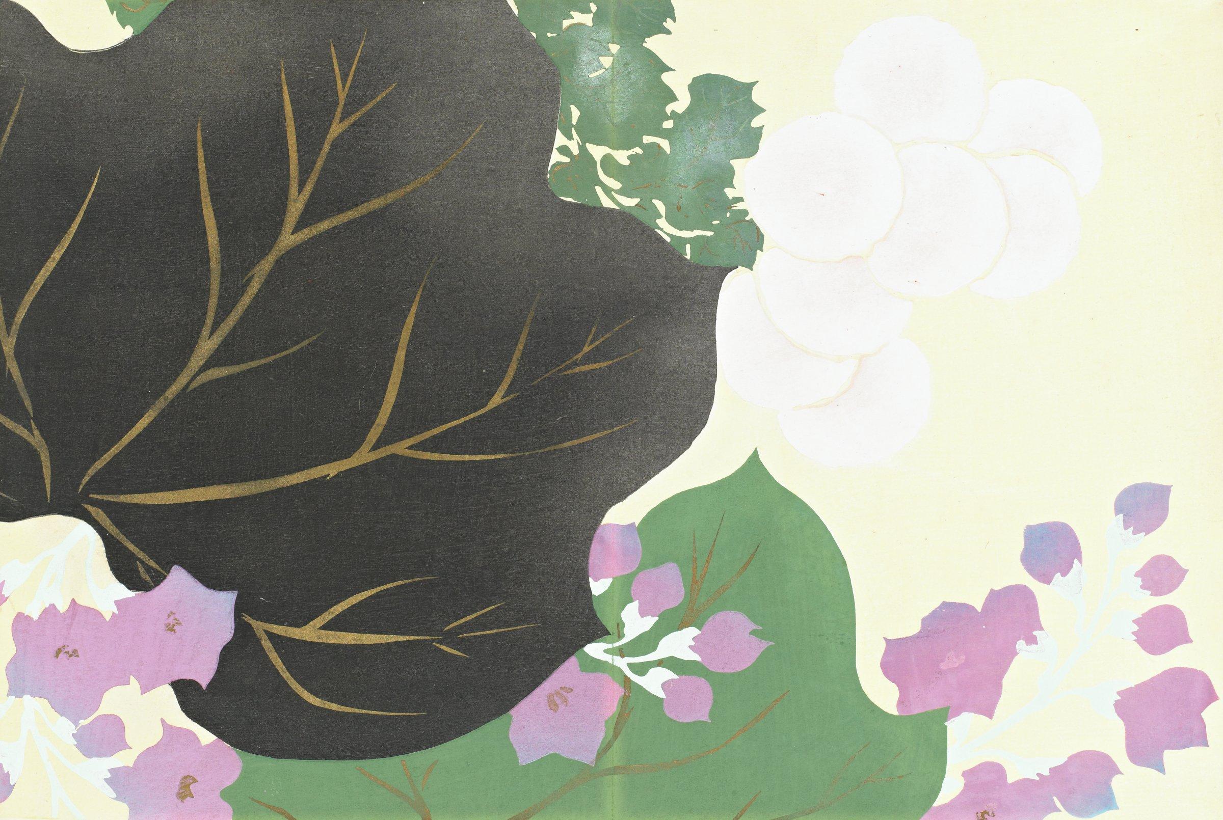 Kiku, Kiri (Chrysanthemum and Paulownia), from Momoyogusa (A World of Things), Volume 3, Kamisaka Sekka, ink and color on paper